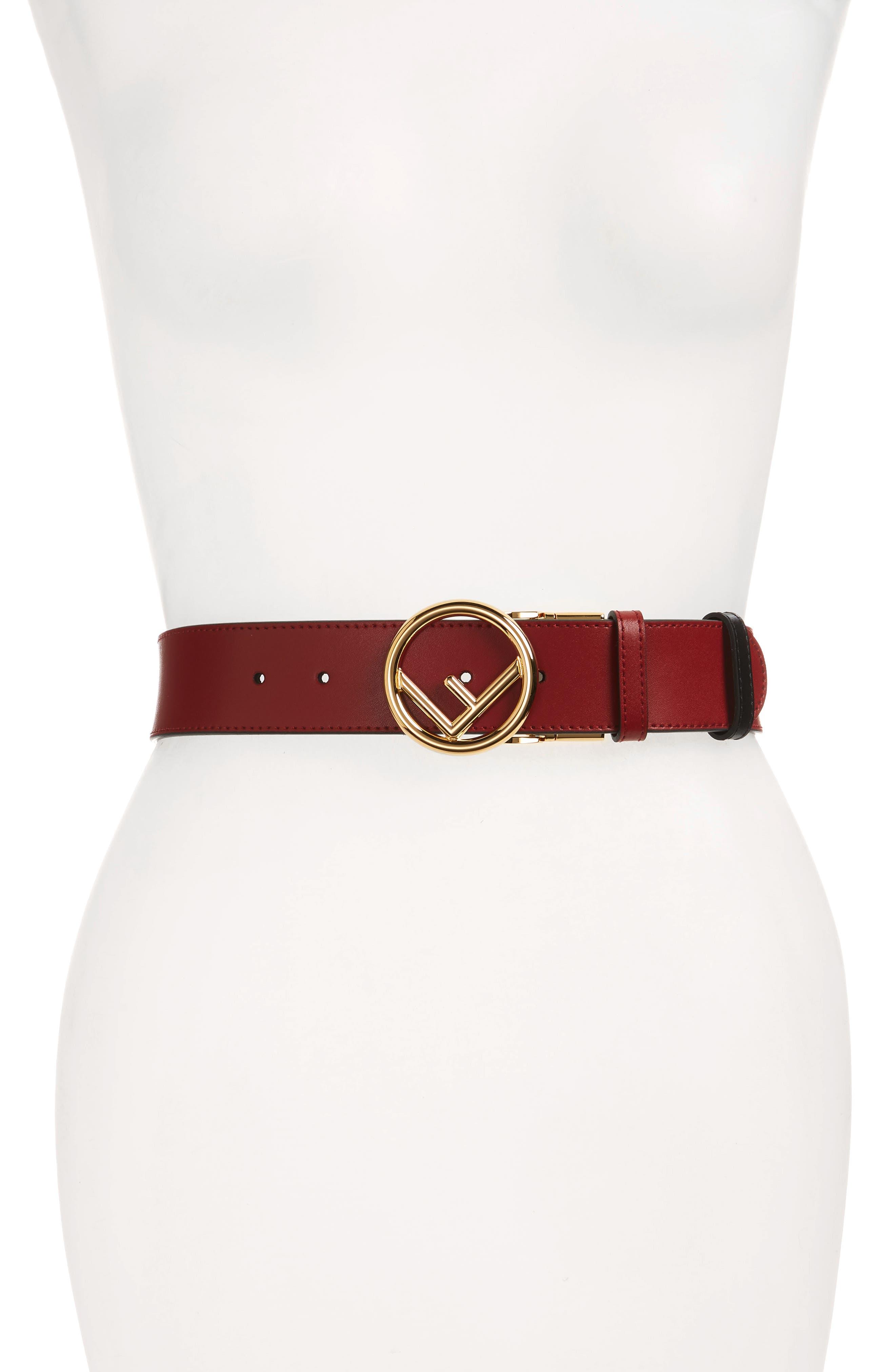 FENDI,                             F Is For Fendi Reversible Leather Belt,                             Main thumbnail 1, color,                             RED