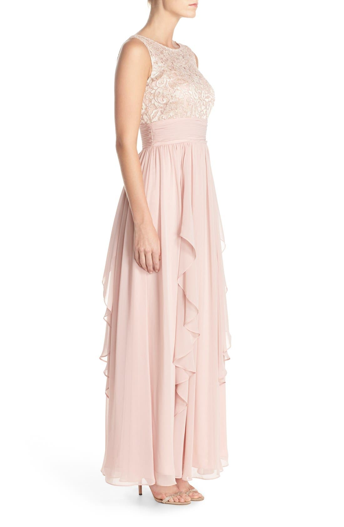 Lace & Chiffon Gown,                             Alternate thumbnail 12, color,