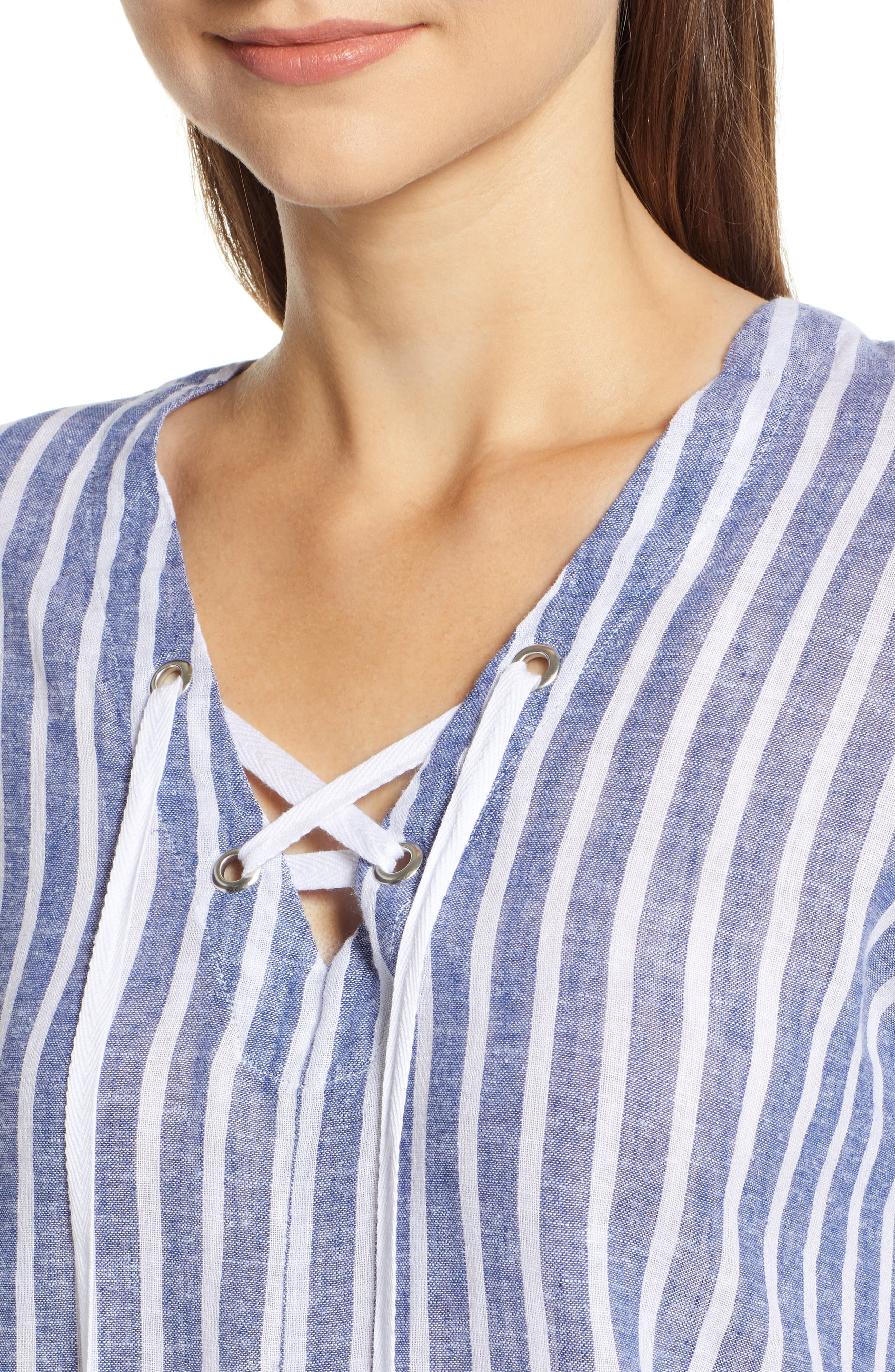 Lily Lace-Up Blouse,                             Alternate thumbnail 4, color,                             PARISIAN BLUE