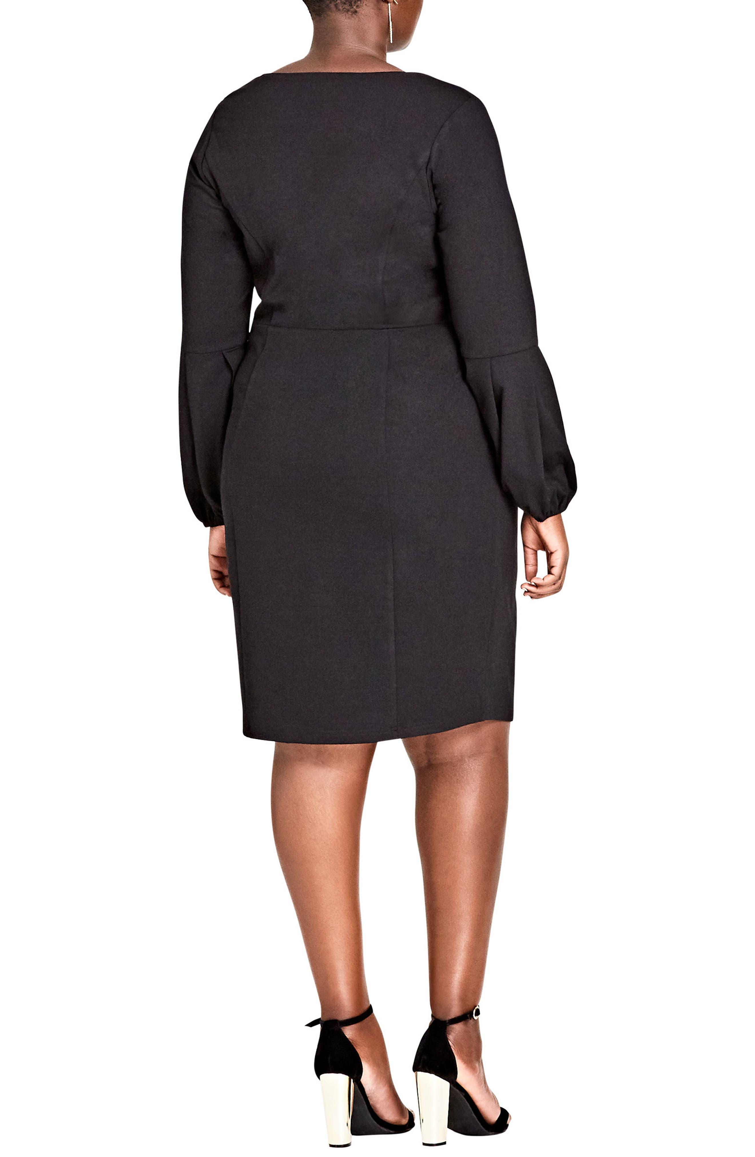 Fancy Sleeve Sheath Dress,                             Alternate thumbnail 2, color,                             BLACK