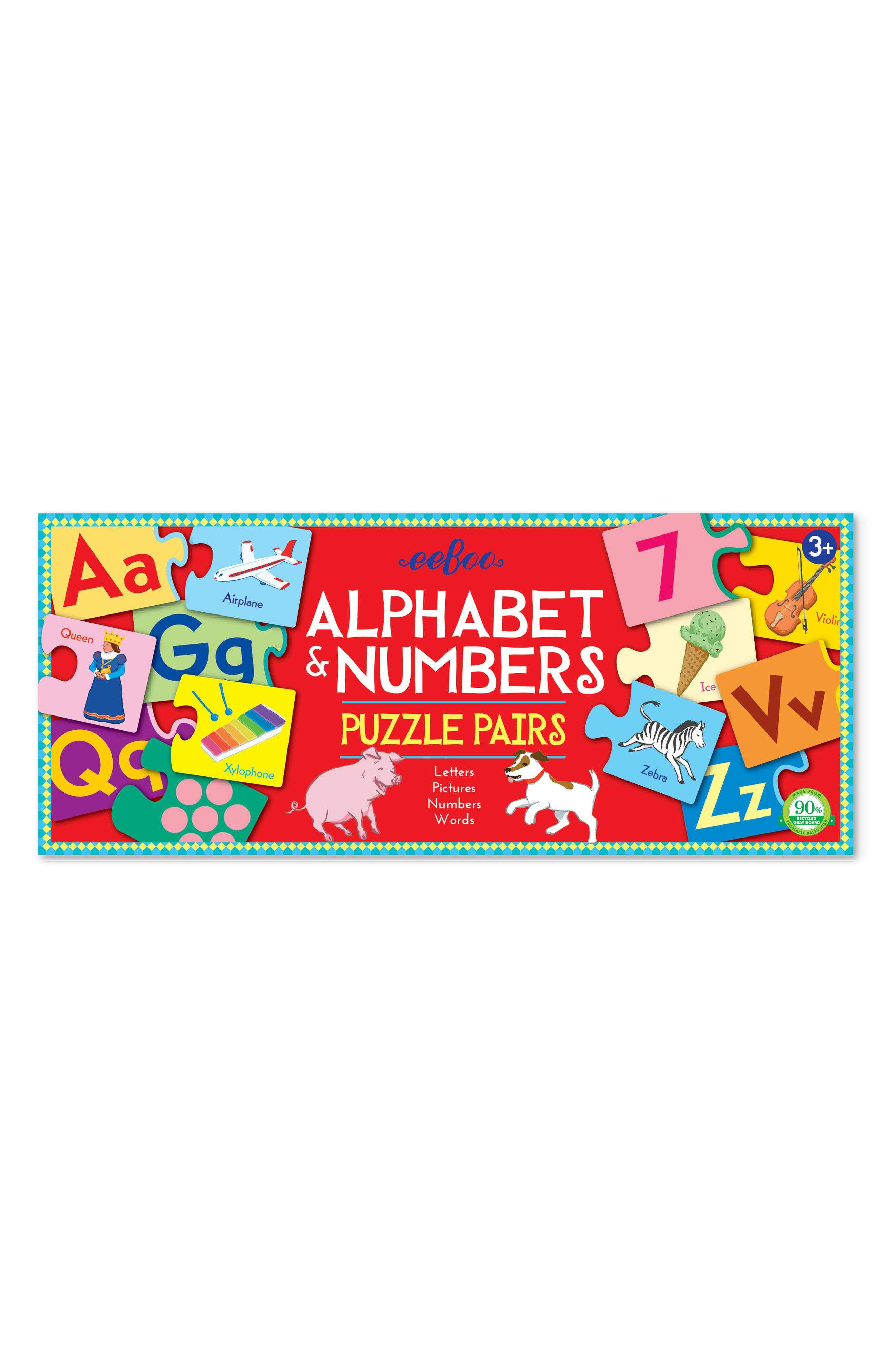 Alphabet & Number Puzzle Pairs,                         Main,                         color, 600