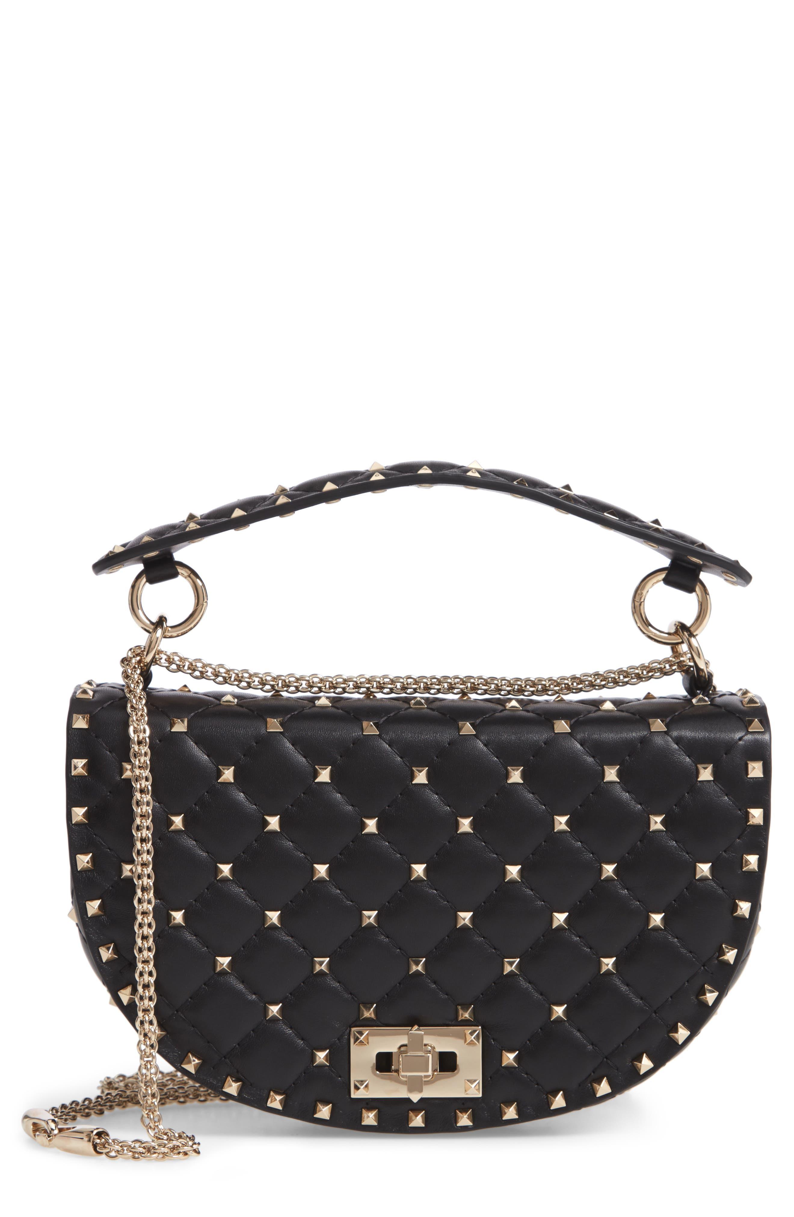 Rockstud Spike Leather Saddle Bag,                         Main,                         color, NERO