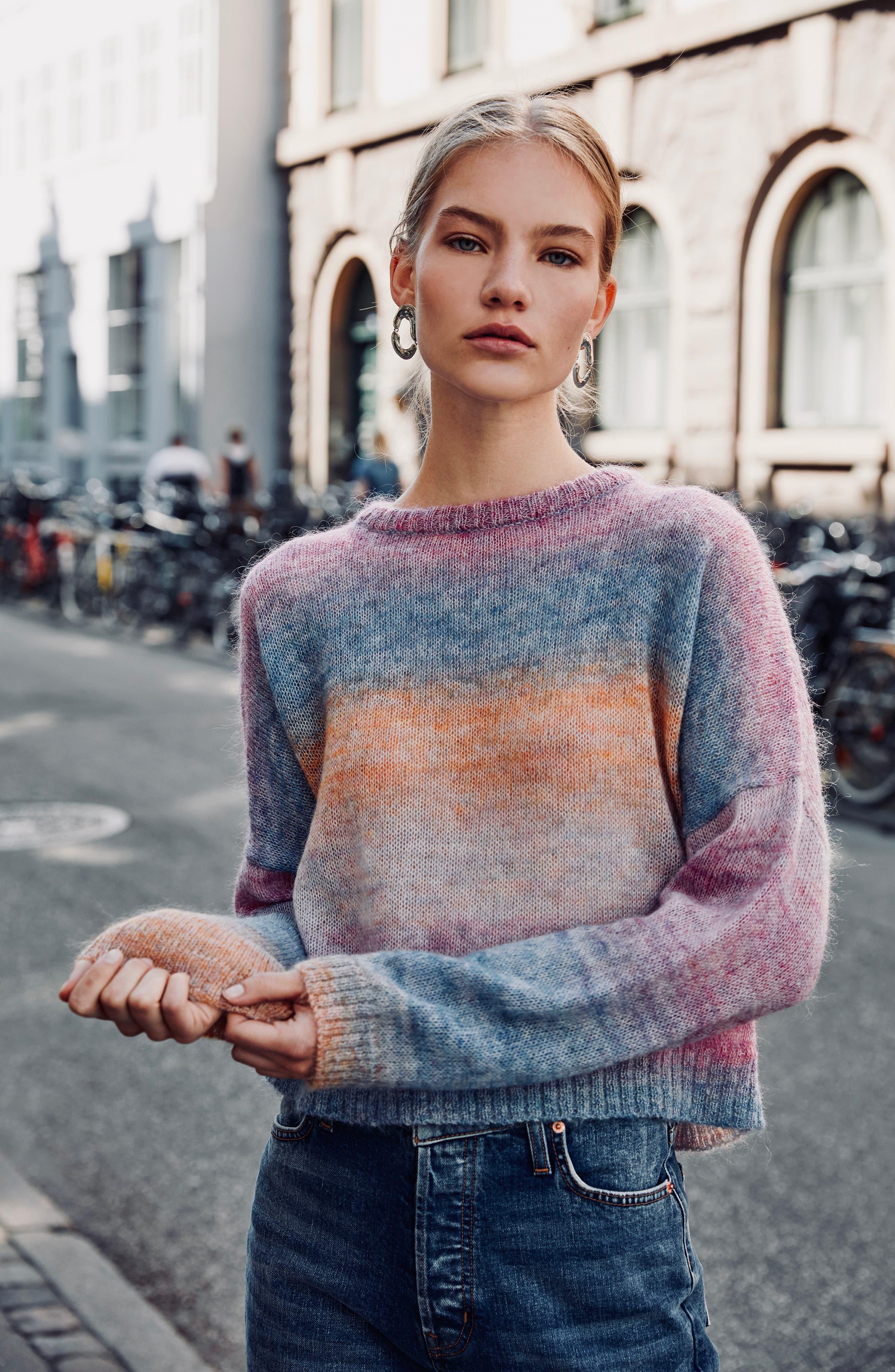 Camille Stripe Sweater,                             Alternate thumbnail 2, color,                             RAINBOW
