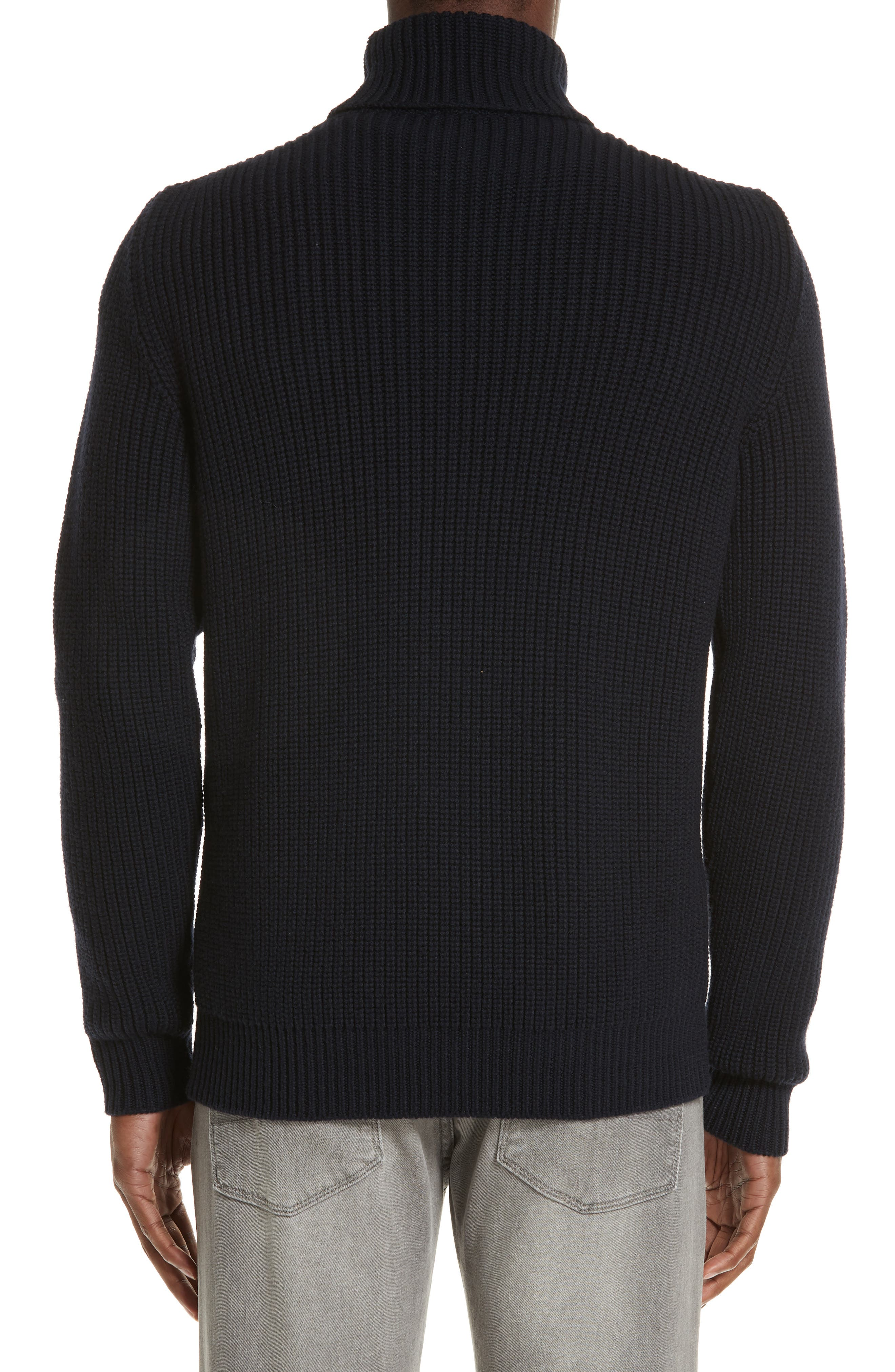 Ribbed Merino Wool Turtleneck Sweater,                             Alternate thumbnail 2, color,                             NAVY