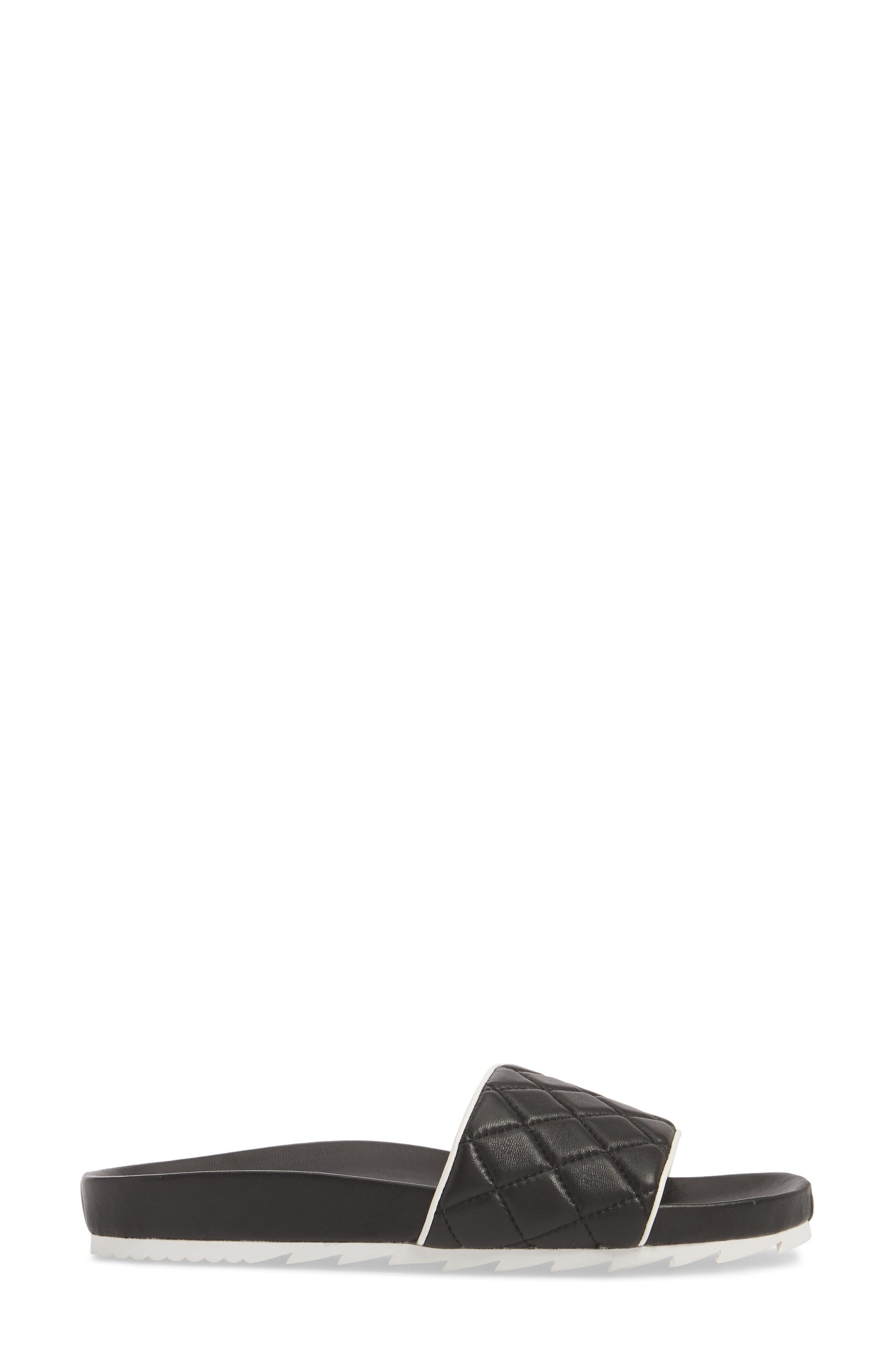 Edge Slide Sandal,                             Alternate thumbnail 3, color,                             BLACK LEATHER