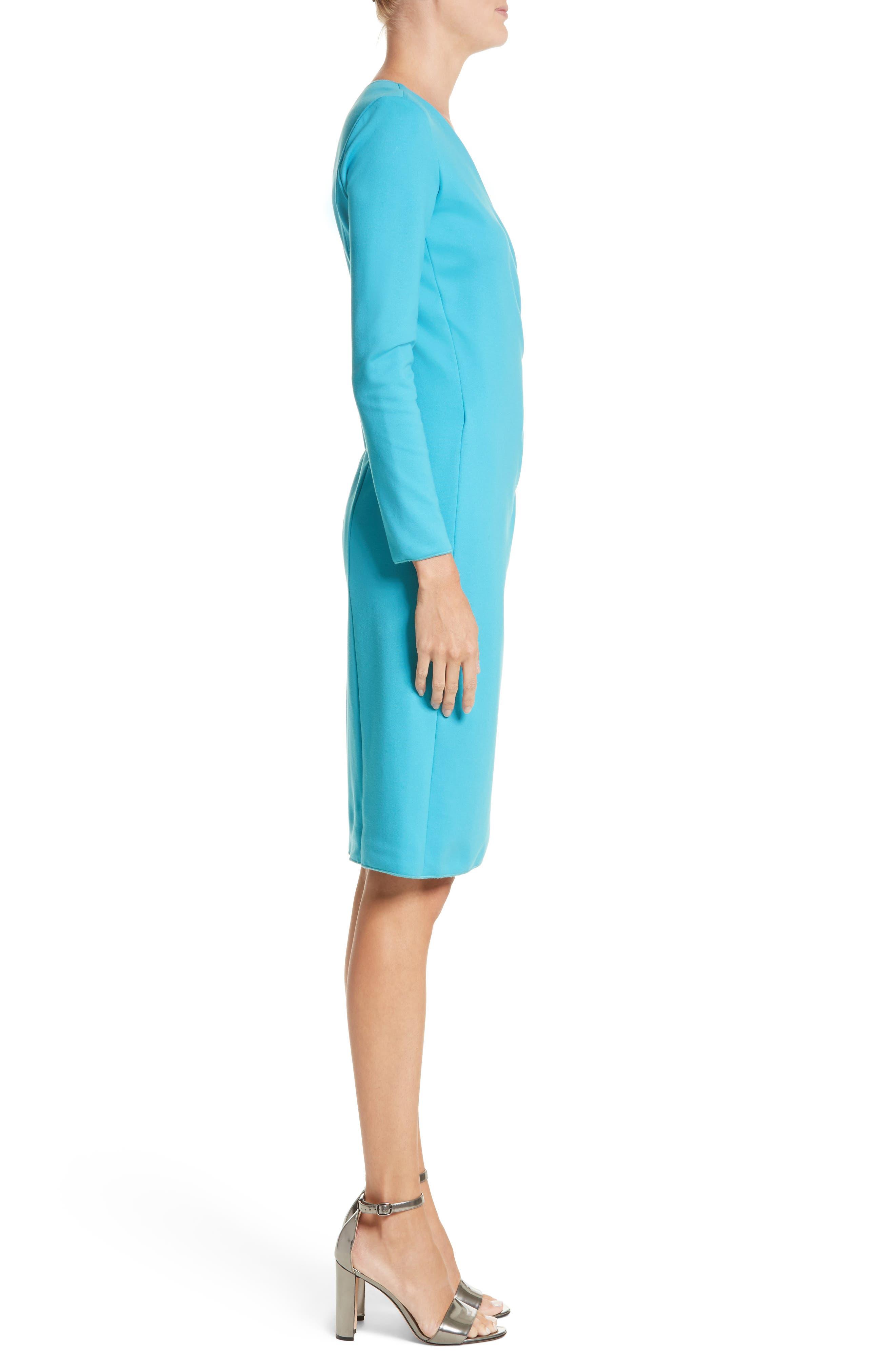 Faux Wrap Side Pleat Dress,                             Alternate thumbnail 3, color,                             444