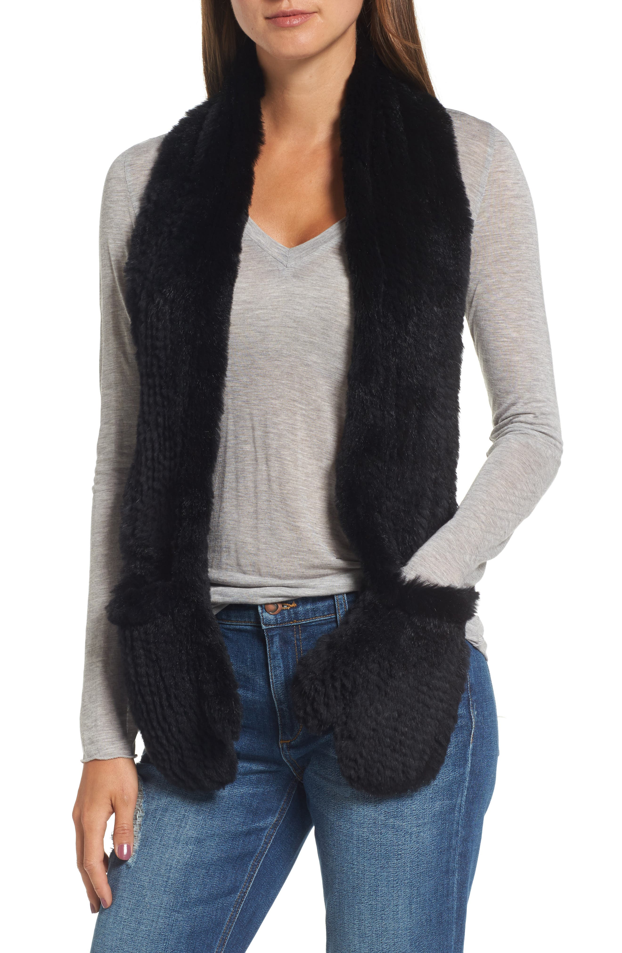 Genuine Rabbit Fur Scarf with Built-in Mittens,                             Main thumbnail 1, color,                             001