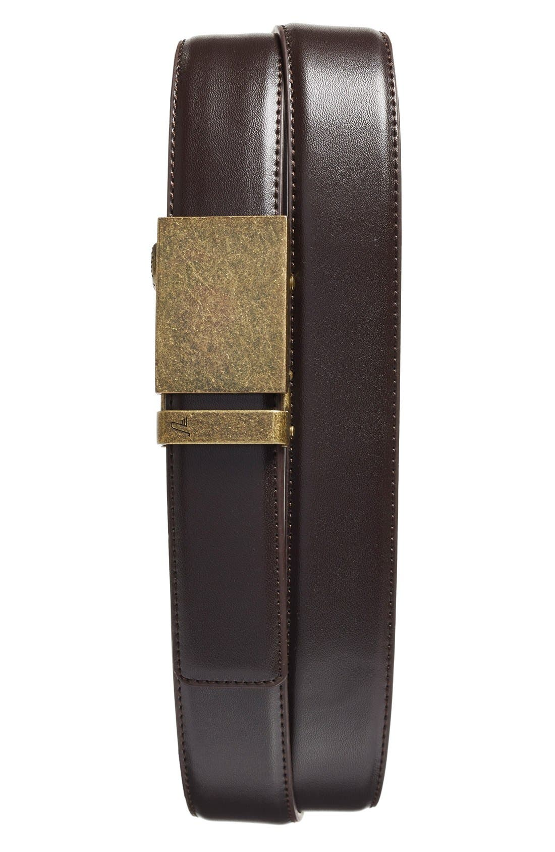 'Bronze' Leather Belt,                         Main,                         color, BRONZE/ BROWN