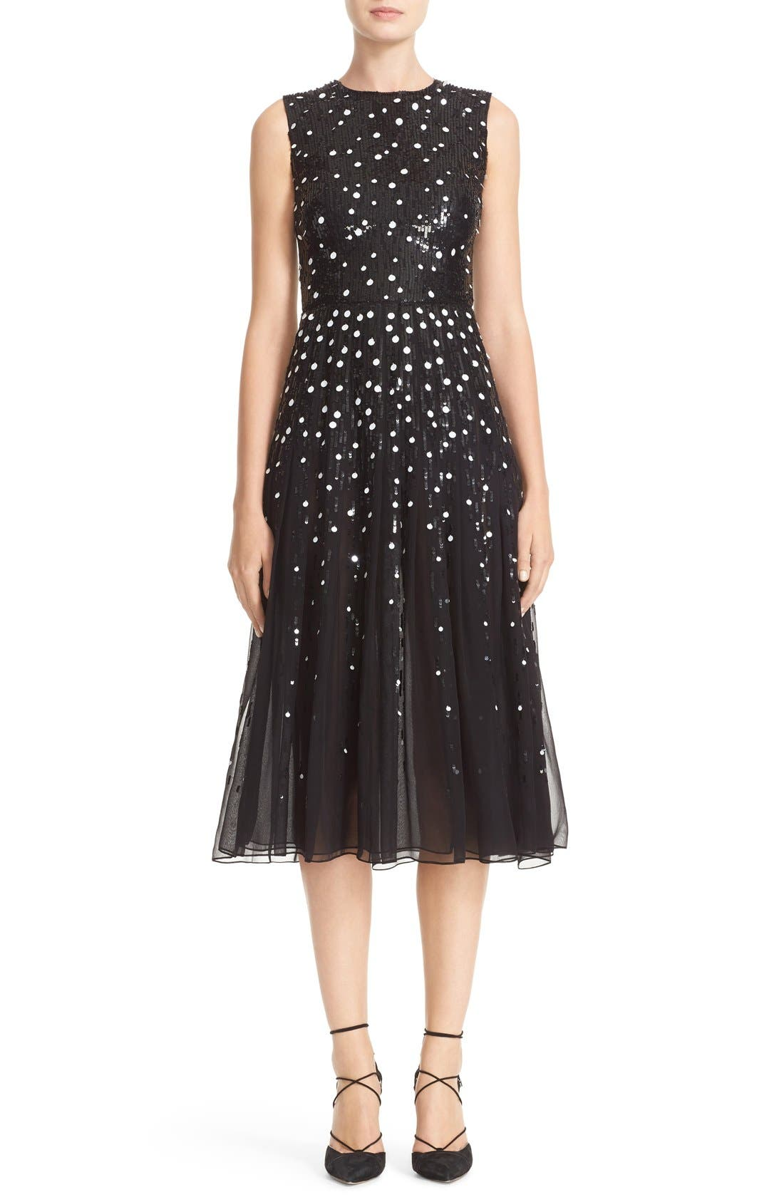 Dégradé Sequin Silk Midi Dress,                             Main thumbnail 1, color,                             BLACK/ WHITE