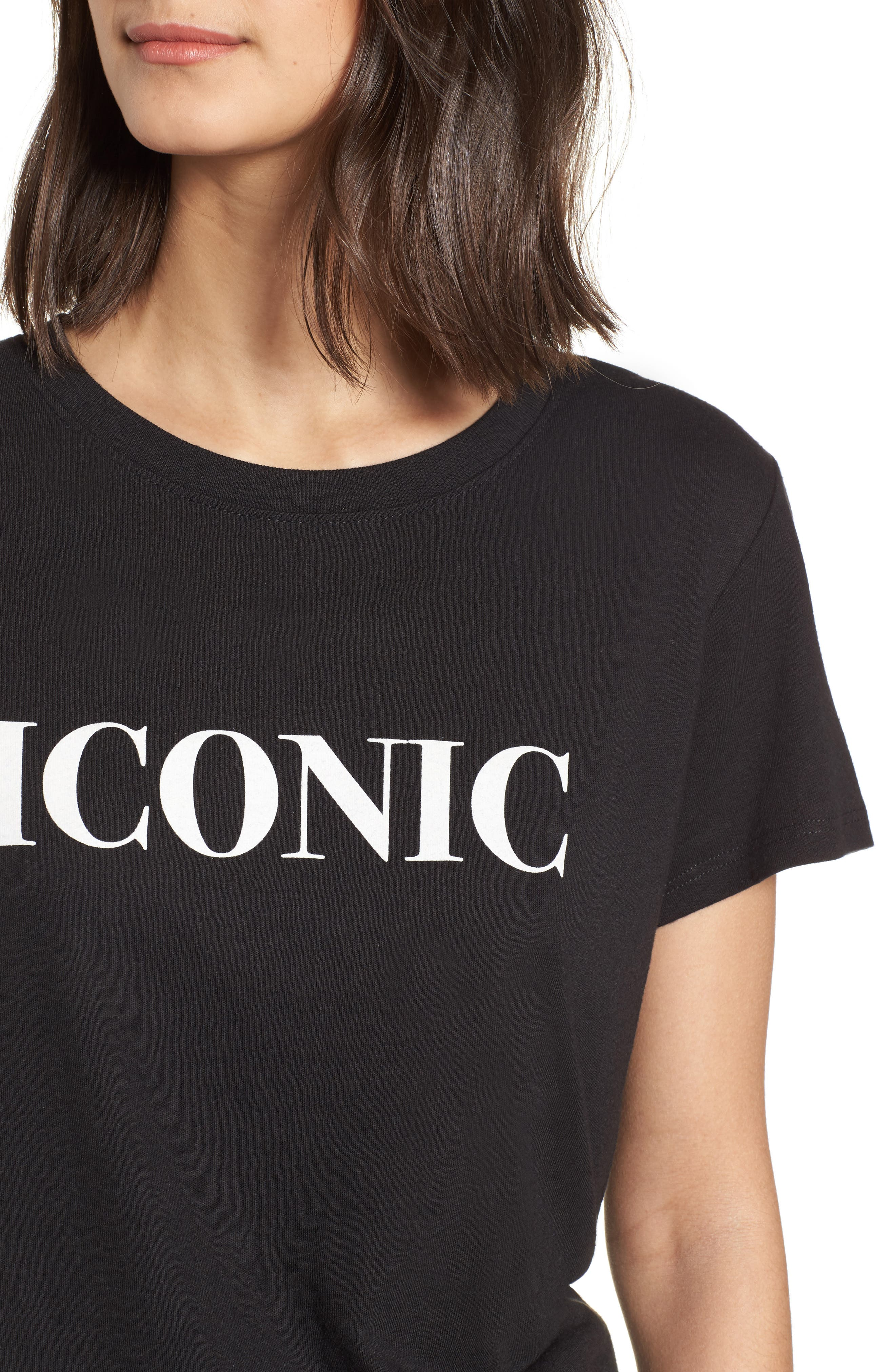 Iconic Slouched Graphic Tee,                             Alternate thumbnail 4, color,                             001