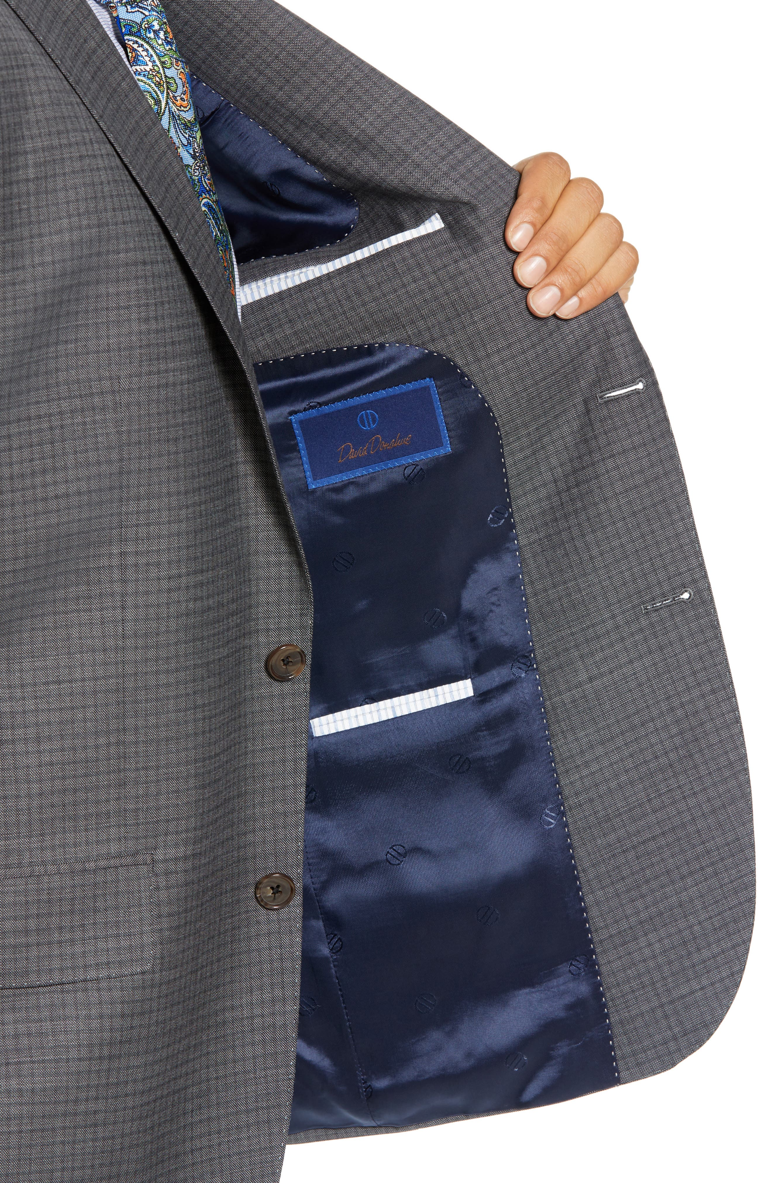 Ryan Classic Fit Stretch Check Wool Suit,                             Alternate thumbnail 4, color,                             CHARCOAL