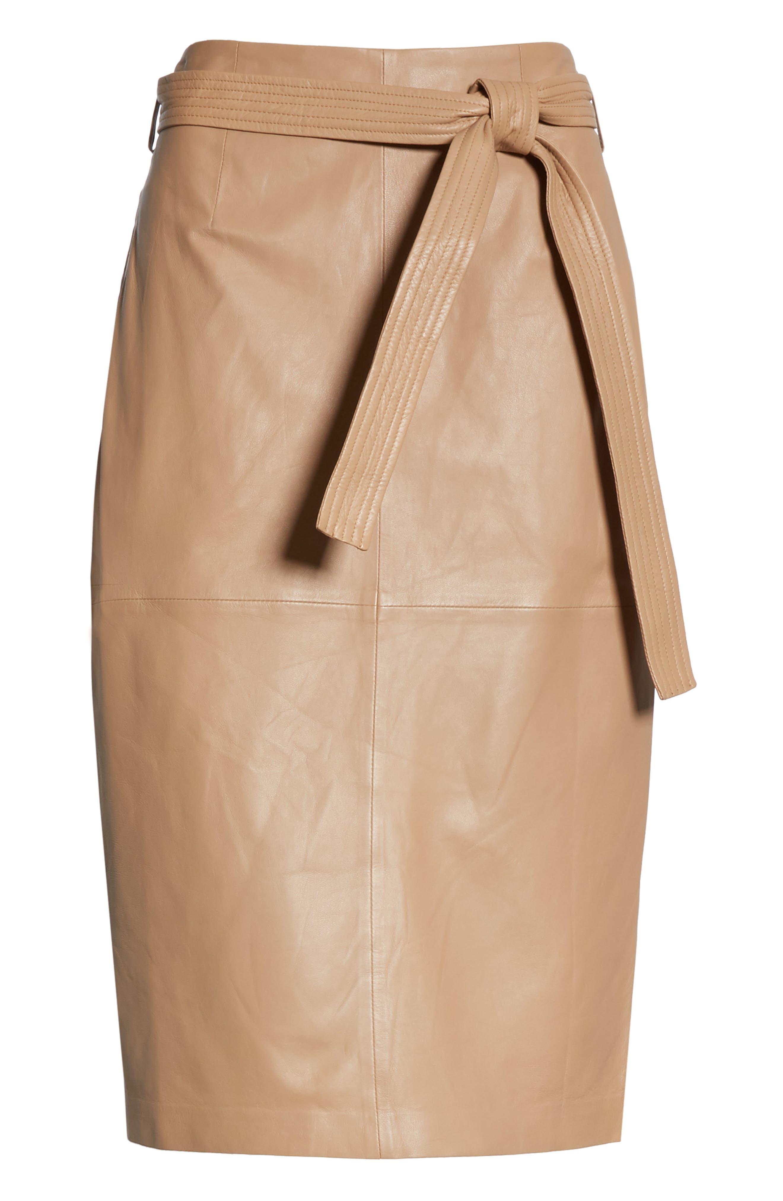 Alouetta Leather Skirt,                             Alternate thumbnail 6, color,                             BOIS