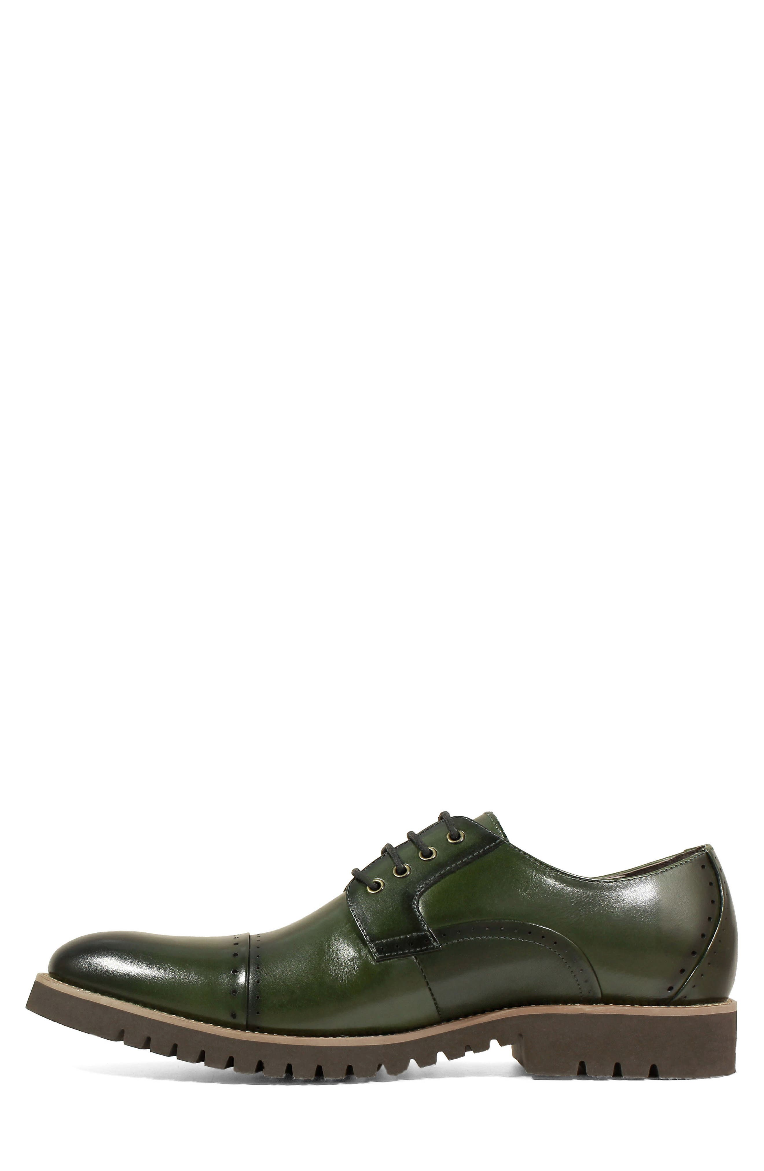 Barcliff Cap Toe Derby,                             Alternate thumbnail 7, color,                             CARGO GREEN LEATHER