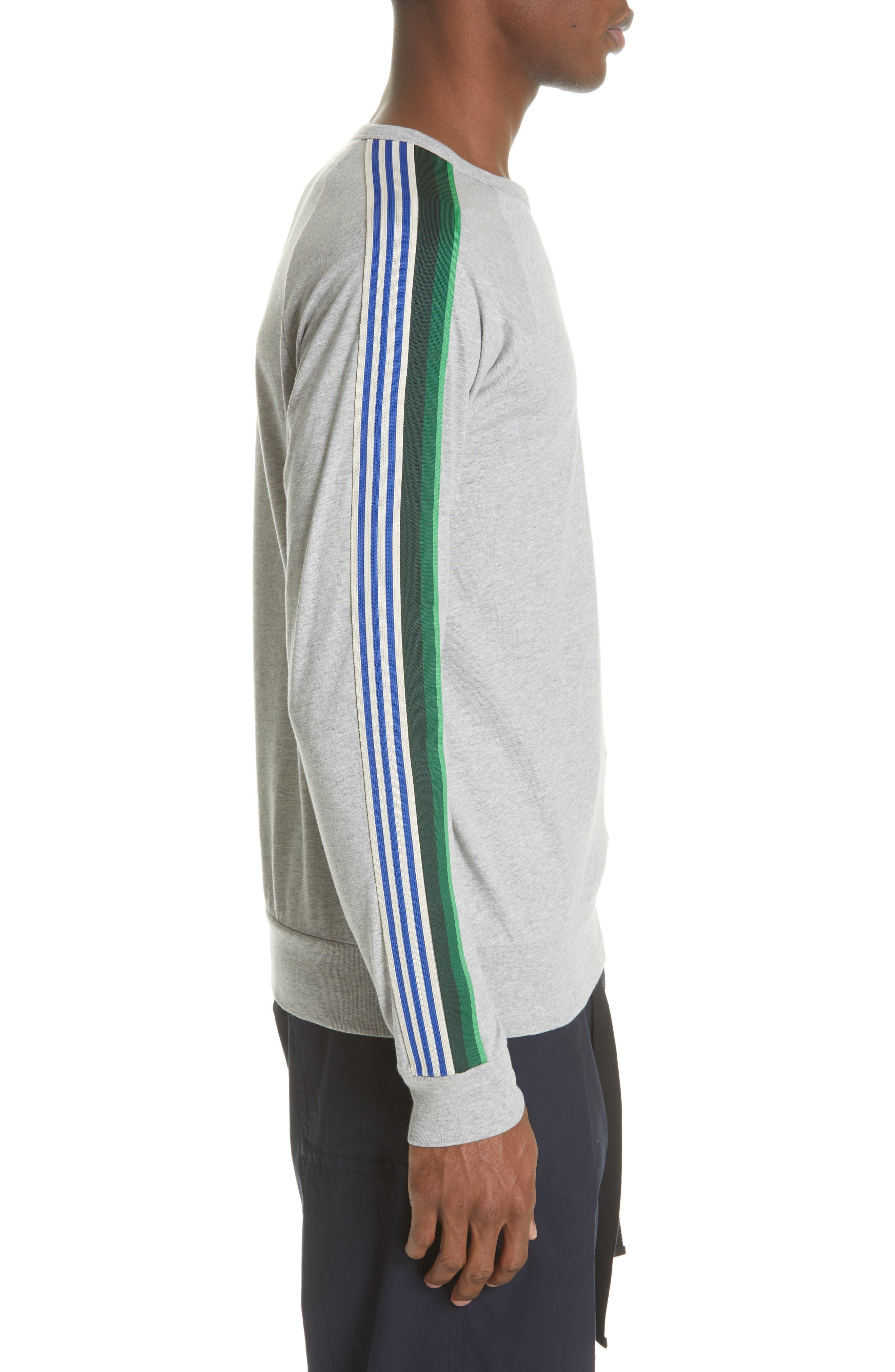 Hoyt Stripe Sleeve Sweatshirt,                             Alternate thumbnail 3, color,                             GREY MELANGE