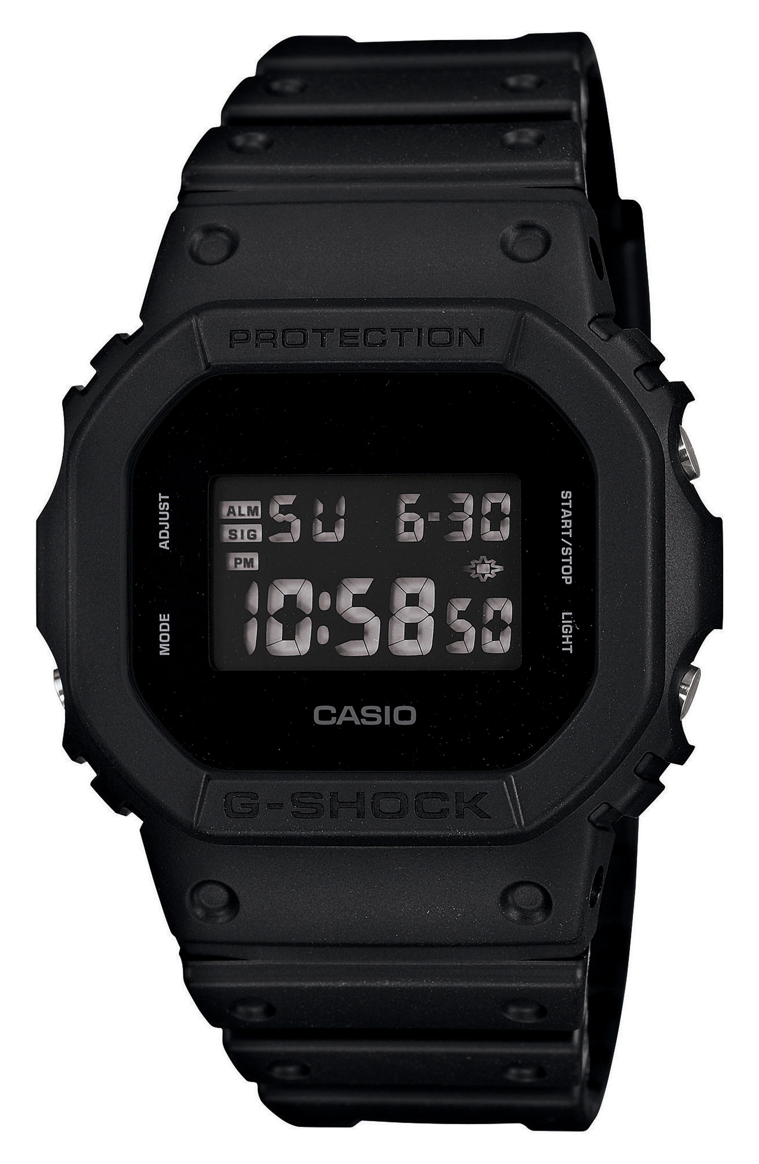 G-Shock Square Digital Watch, 48mm,                             Main thumbnail 1, color,                             BLACK/ GREY
