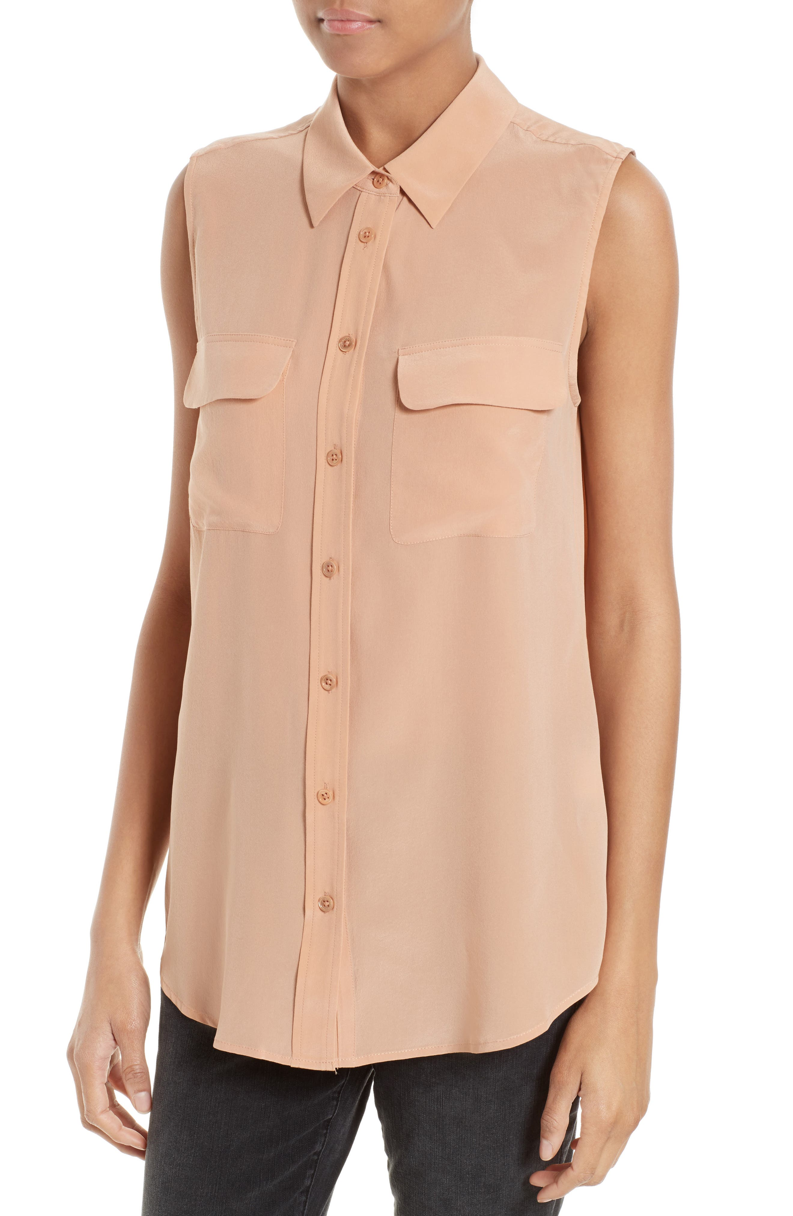 'Slim Signature' Sleeveless Silk Shirt,                             Alternate thumbnail 186, color,