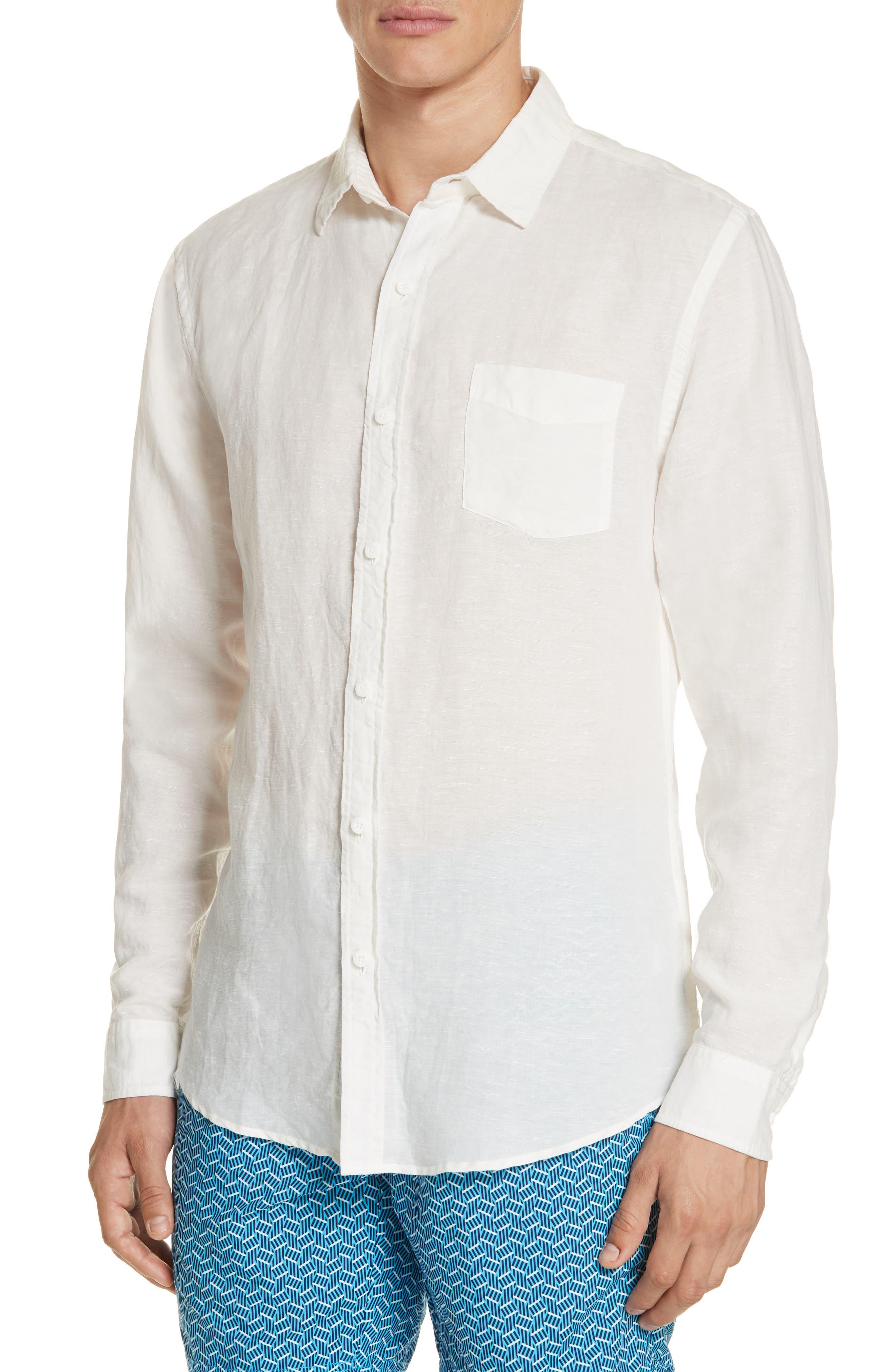 Abe Linen Blend Shirt,                             Alternate thumbnail 2, color,                             WHITE