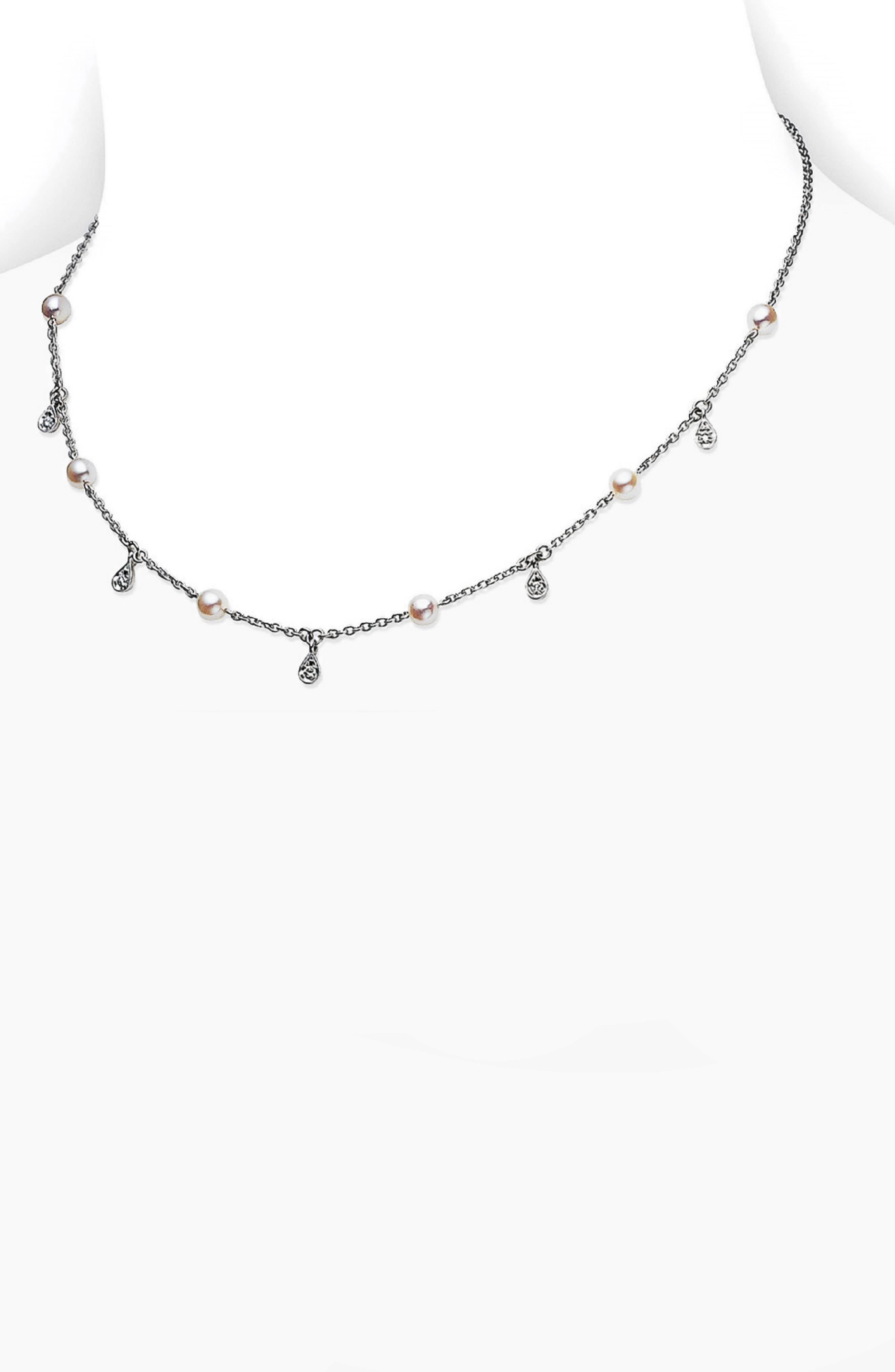 MIKIMOTO Akoya Cultured Pearl & Diamond Station Necklace in White Gold