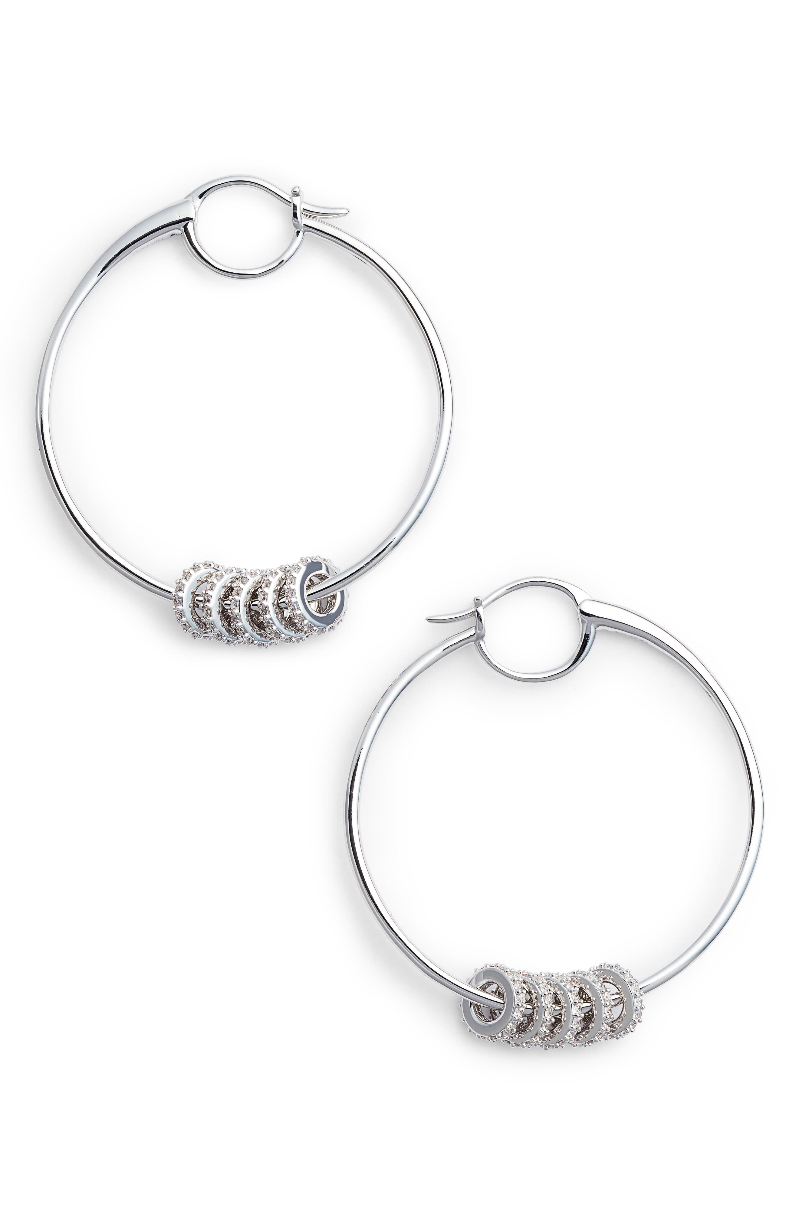 Hoop Earrings,                         Main,                         color, SILVER