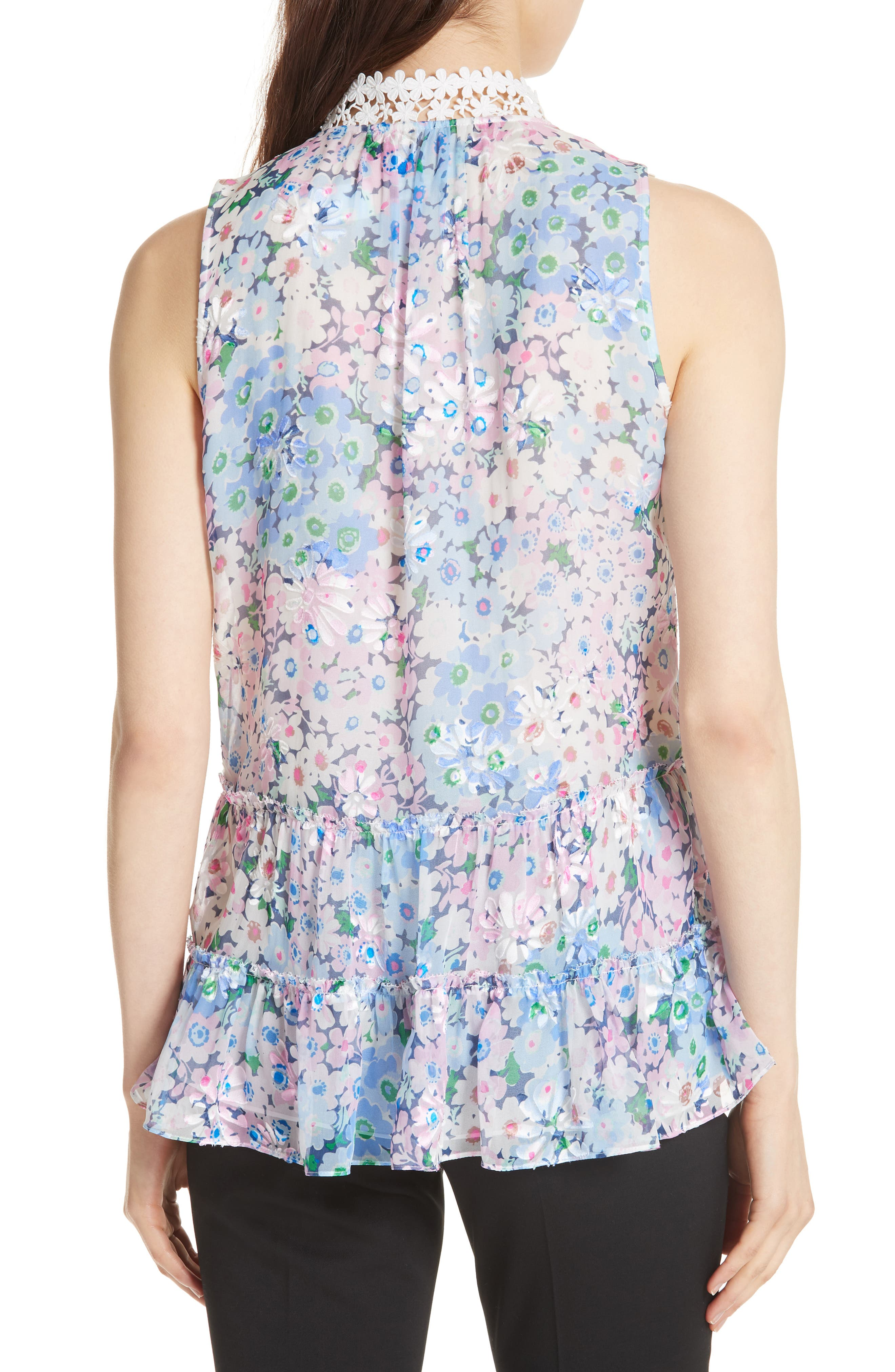 daisy garden devore silk blend top,                             Alternate thumbnail 2, color,                             474