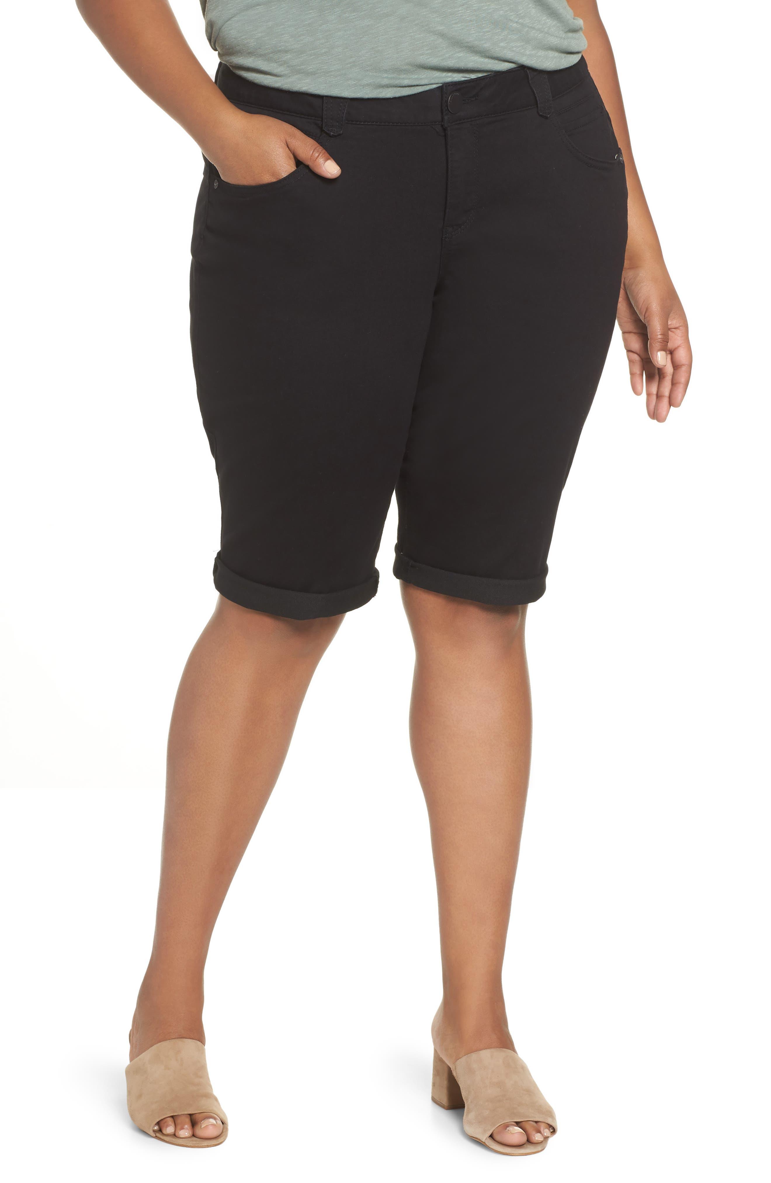 Ab-Solution Denim Shorts,                             Main thumbnail 1, color,                             BLACK