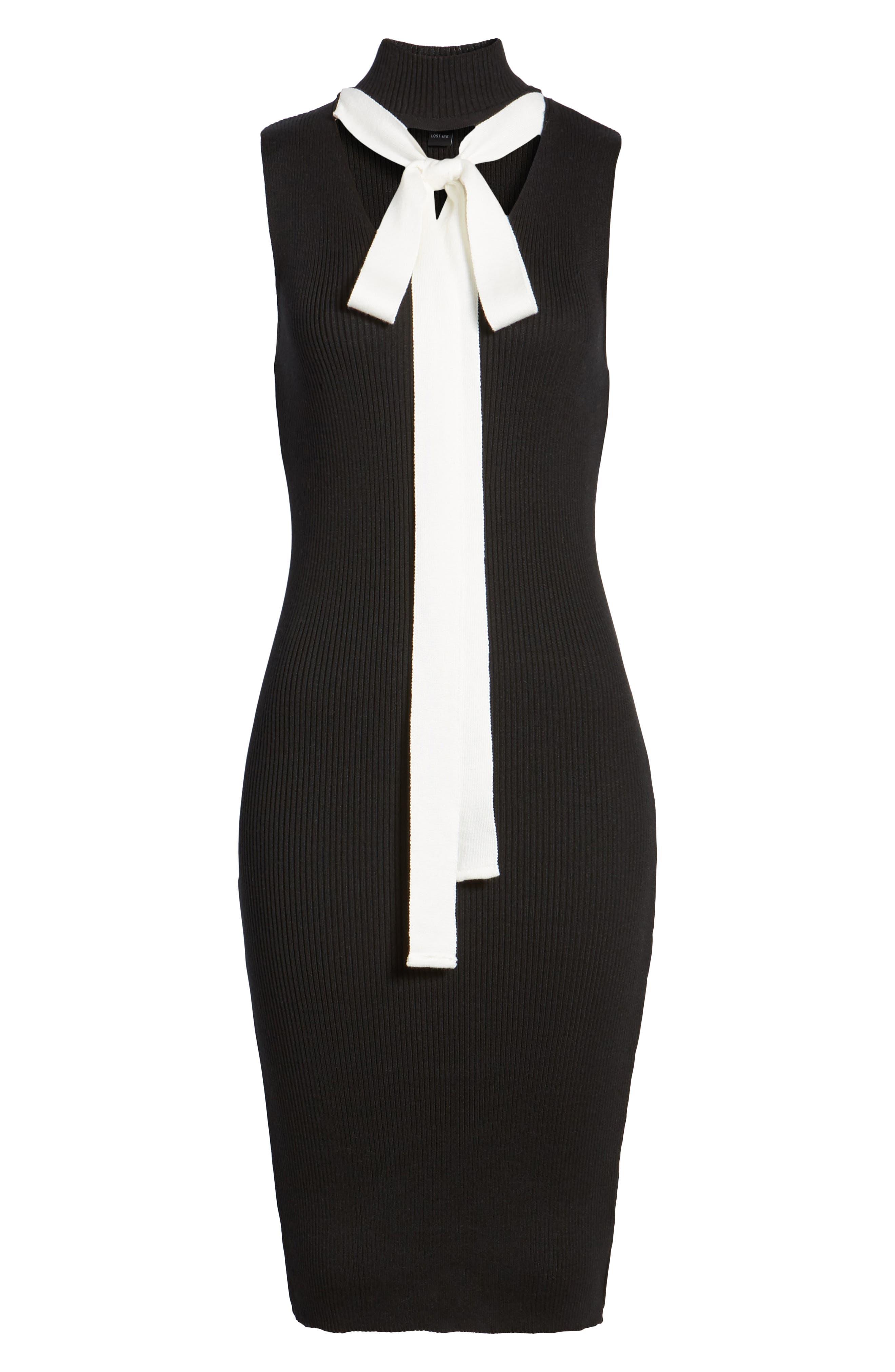 Crisscross Body-Con Dress,                             Alternate thumbnail 7, color,                             001