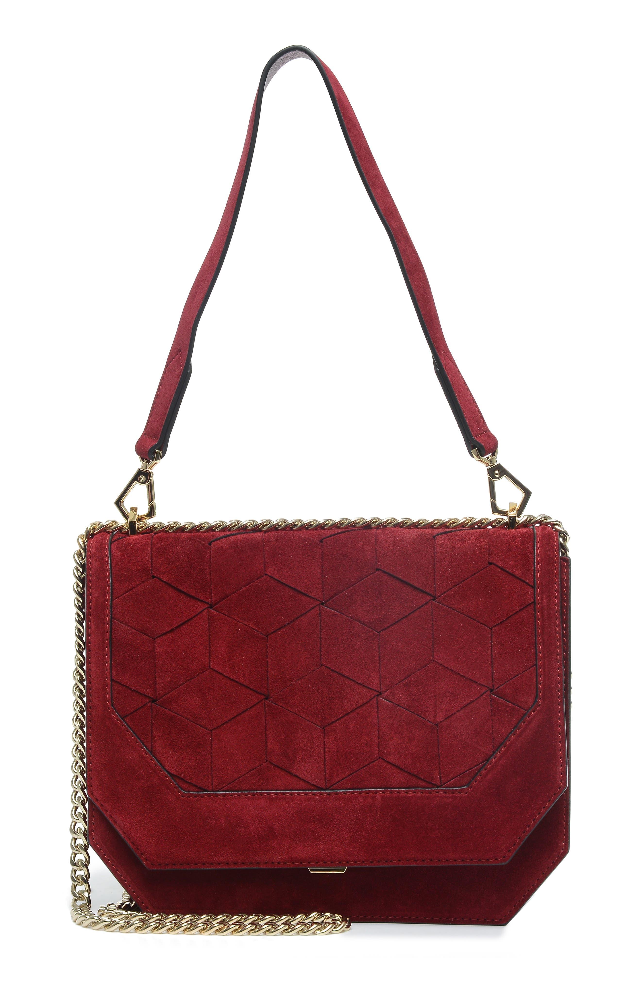 WELDEN Supine Suede Shoulder Bag - Red in Vino