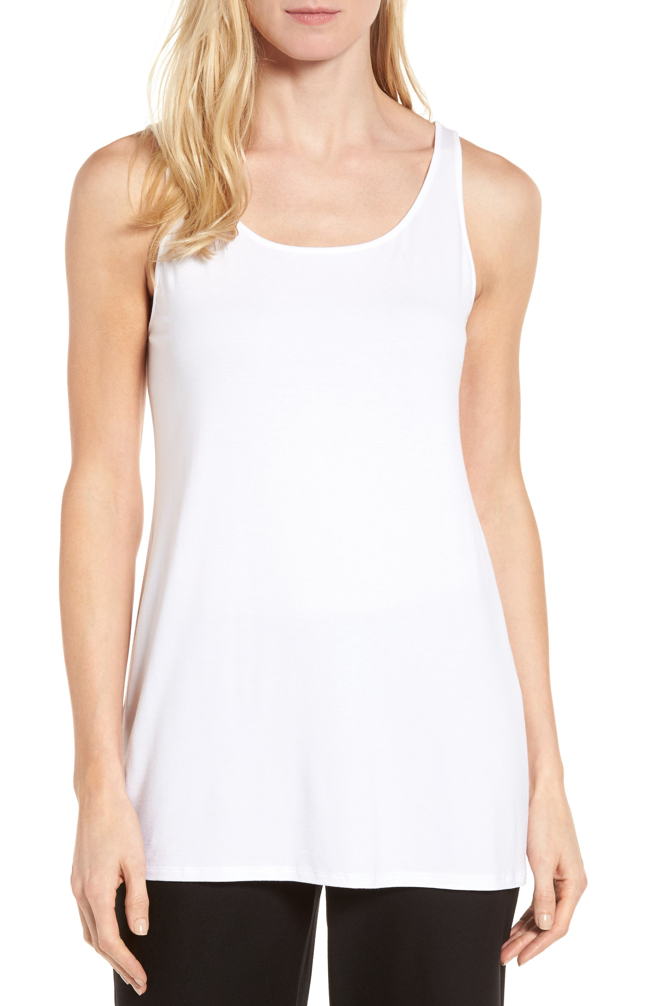 Scoop Neck Long Tank,                         Main,                         color, WHITE