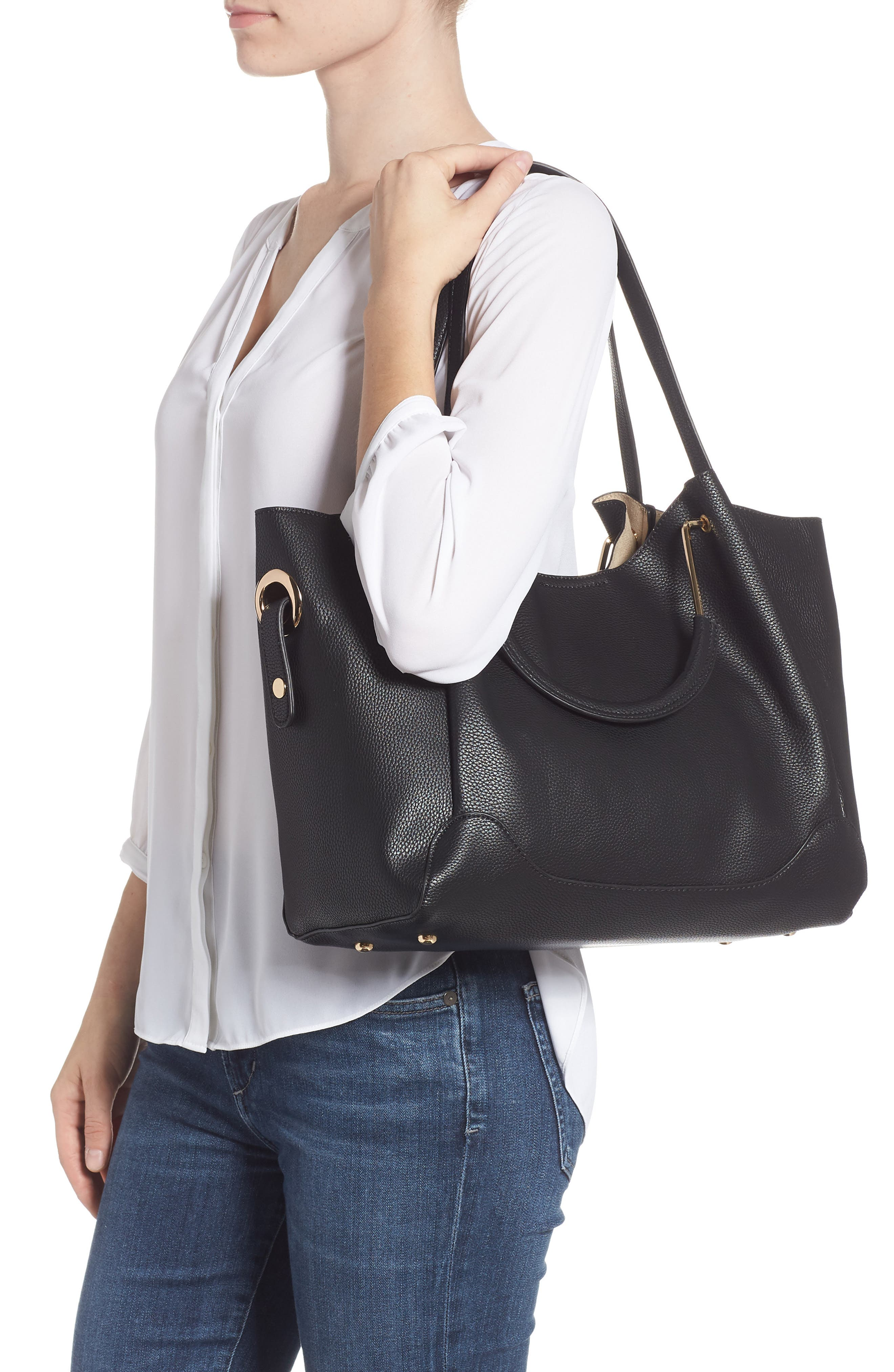 Faux Leather Satchel,                             Alternate thumbnail 2, color,                             BLACK