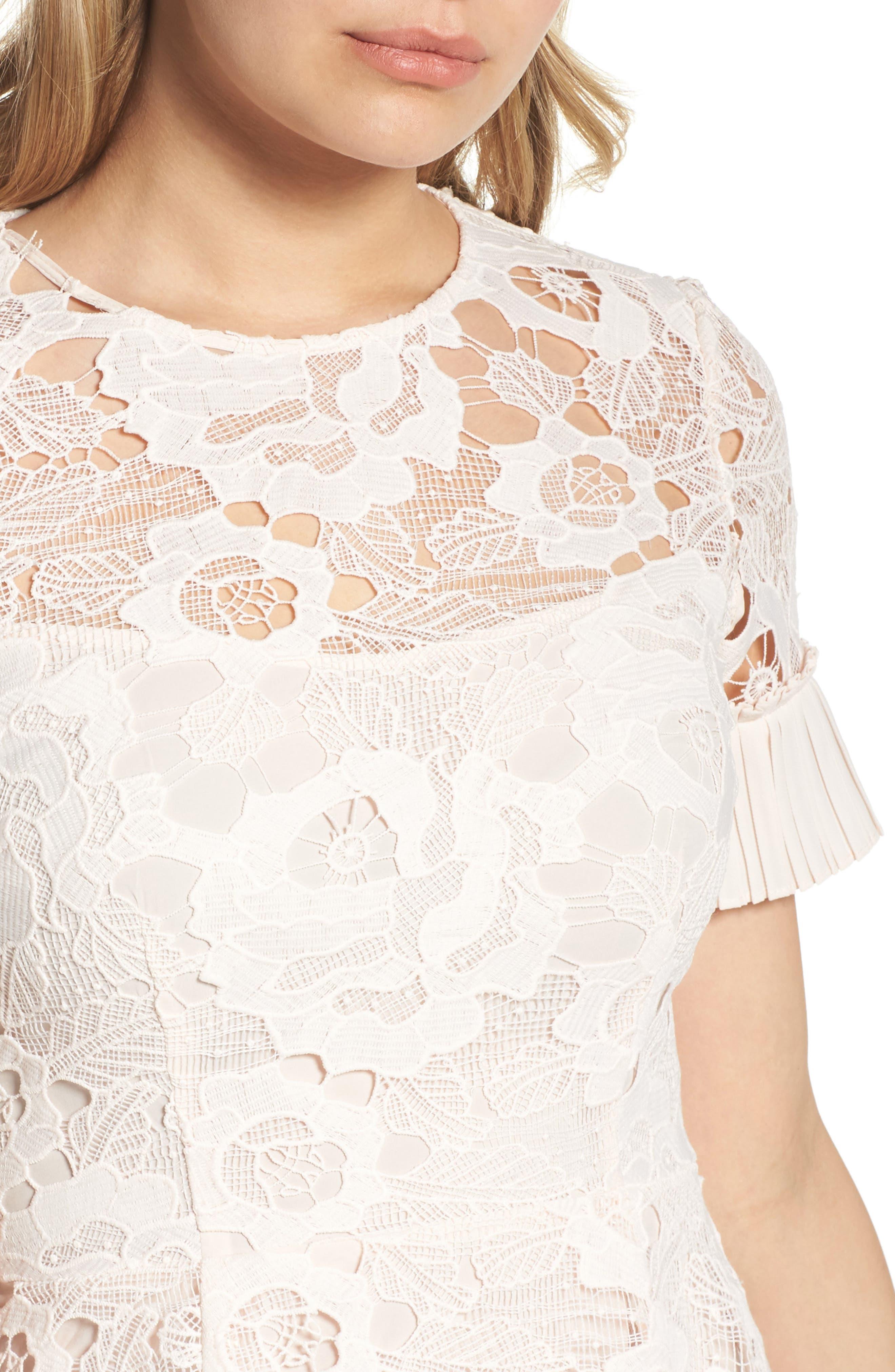 Enchantment Lace Fit & Flare Dress,                             Alternate thumbnail 4, color,                             650