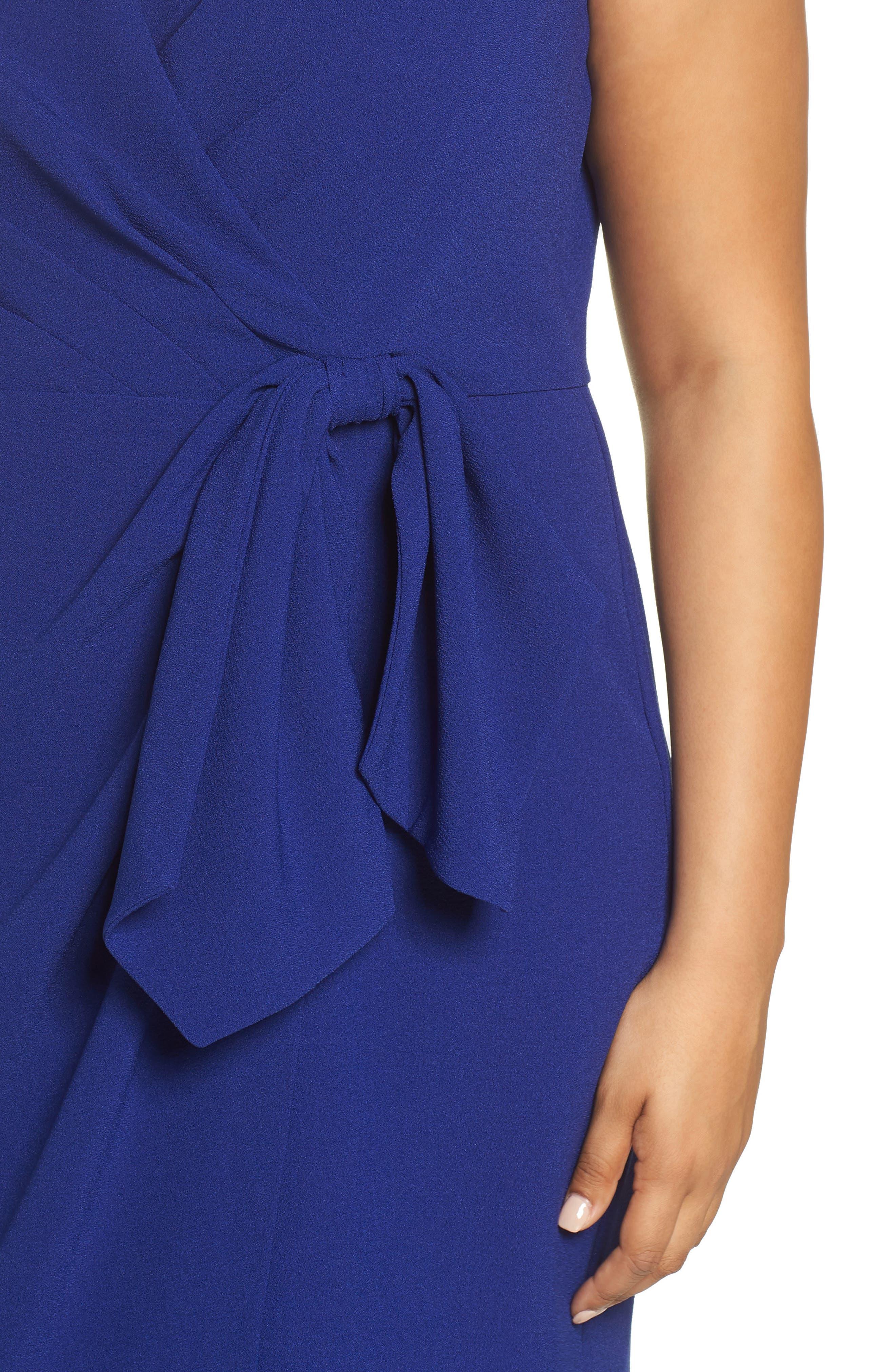 Faux Wrap Dress,                             Alternate thumbnail 4, color,                             COBALT