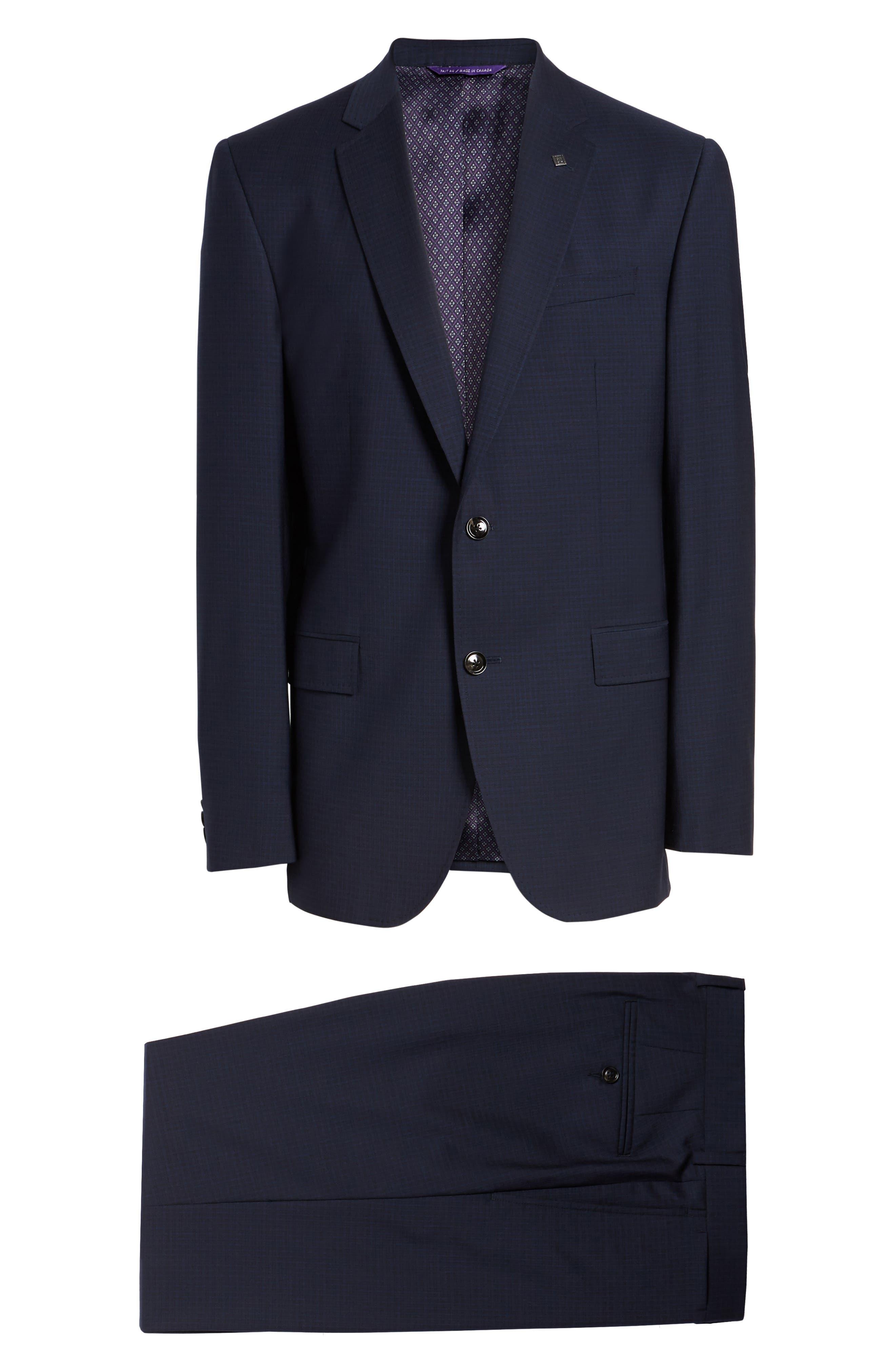 Jay Trim Fit Check Wool Suit,                             Alternate thumbnail 8, color,                             410