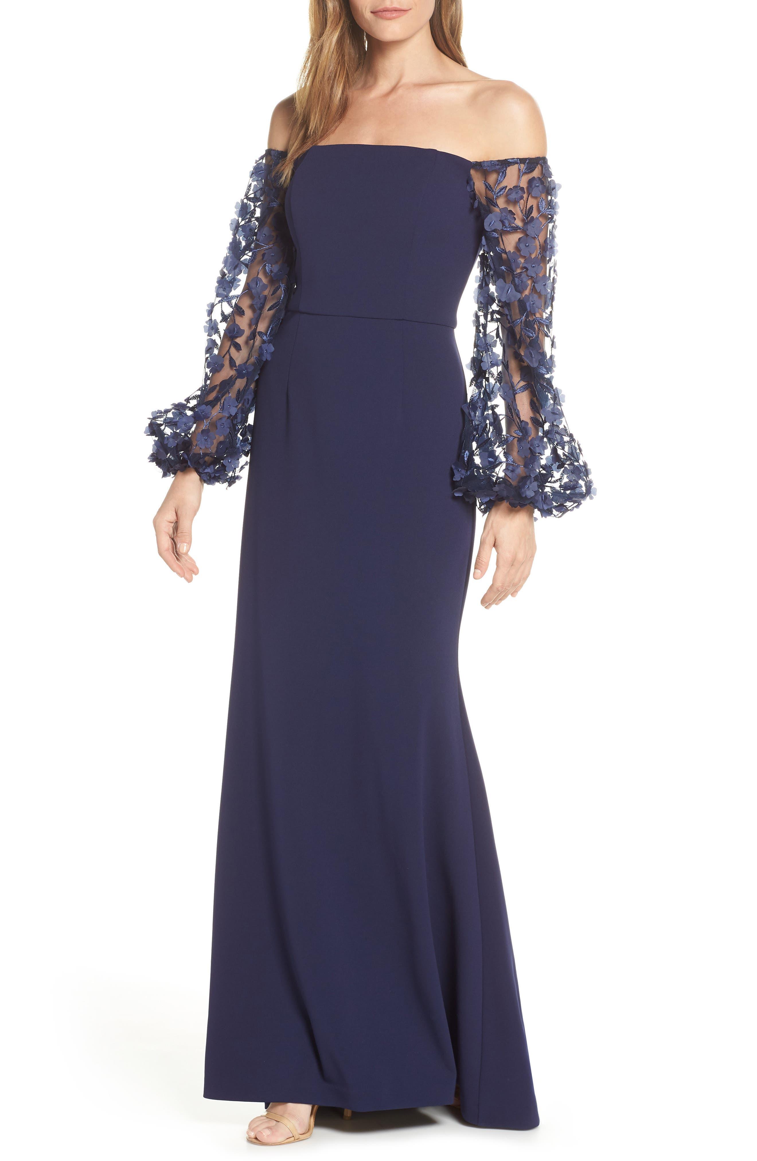 ELIZA J,                             Off the Shoulder 3D Floral Sleeve Scuba Crepe Evening Dress,                             Main thumbnail 1, color,                             NAVY