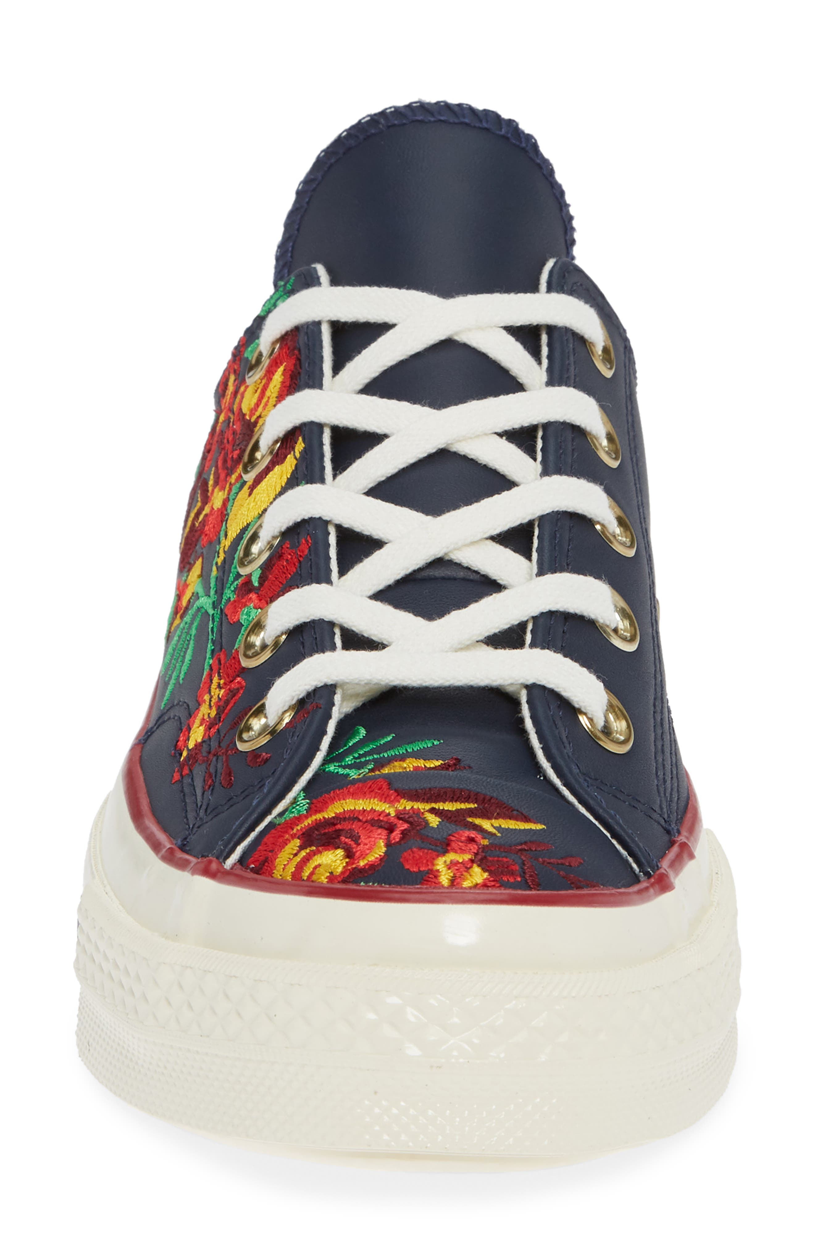 Chuck Taylor<sup>®</sup> All Star<sup>®</sup> Parkway Floral 70 Low Top Sneaker,                             Alternate thumbnail 4, color,                             OBSIDIAN/ CHERRY LEATHER