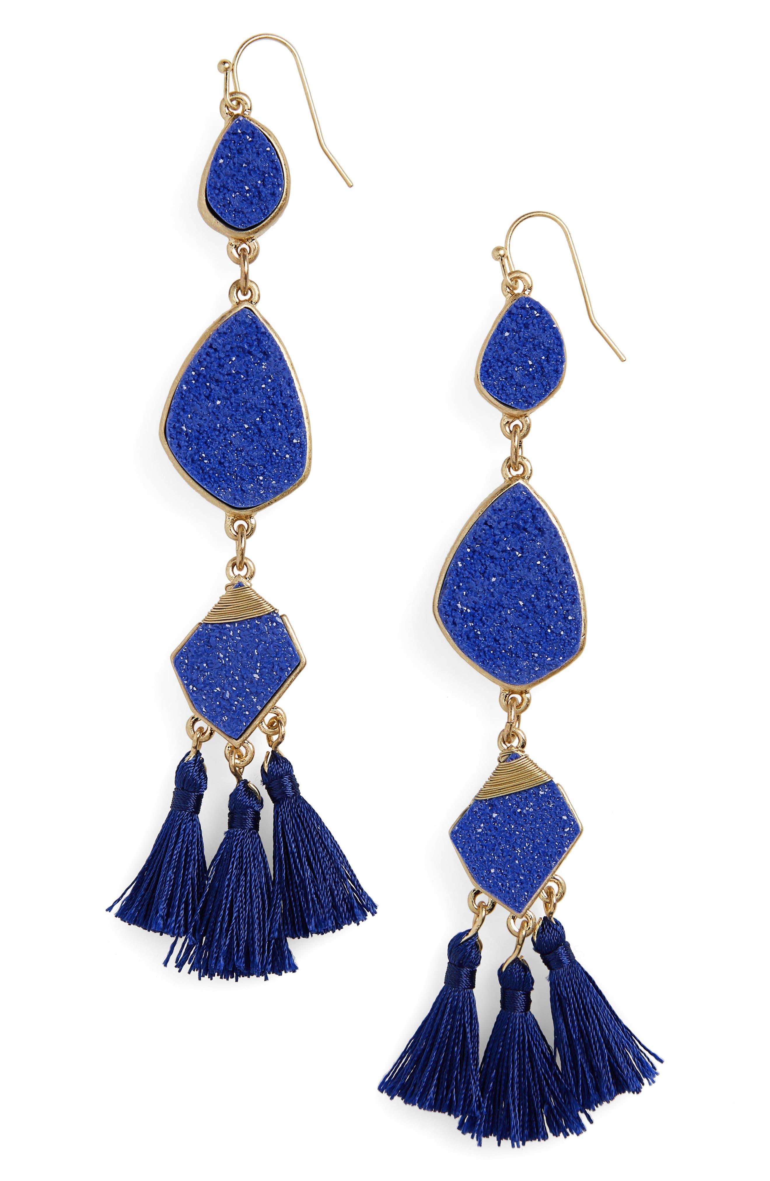 Drusy Tassel Earrings,                         Main,                         color, COBALT