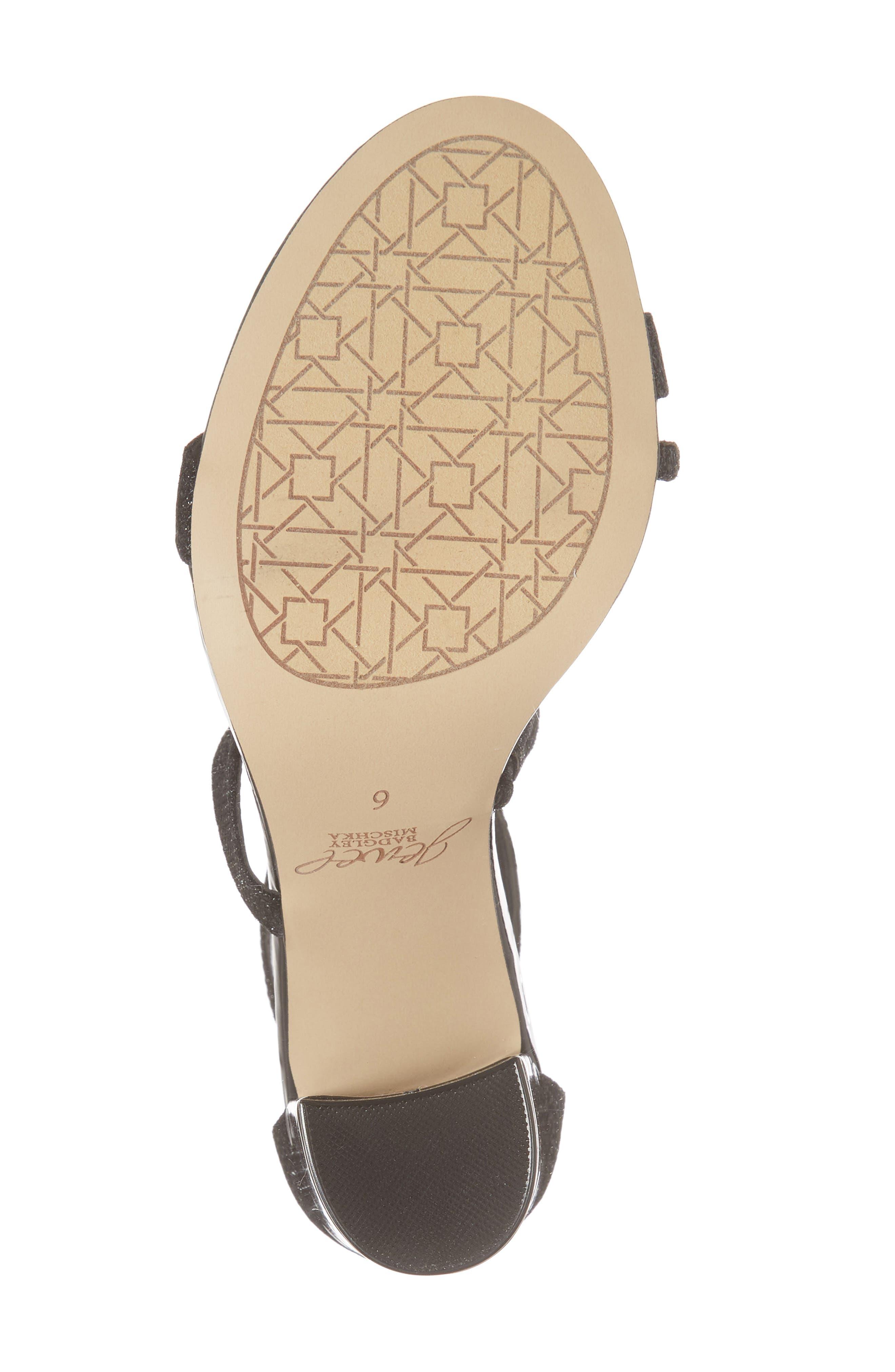 Badgley Mischka Gale Block Heel Sandal,                             Alternate thumbnail 6, color,                             BLACK GLITTER FABRIC