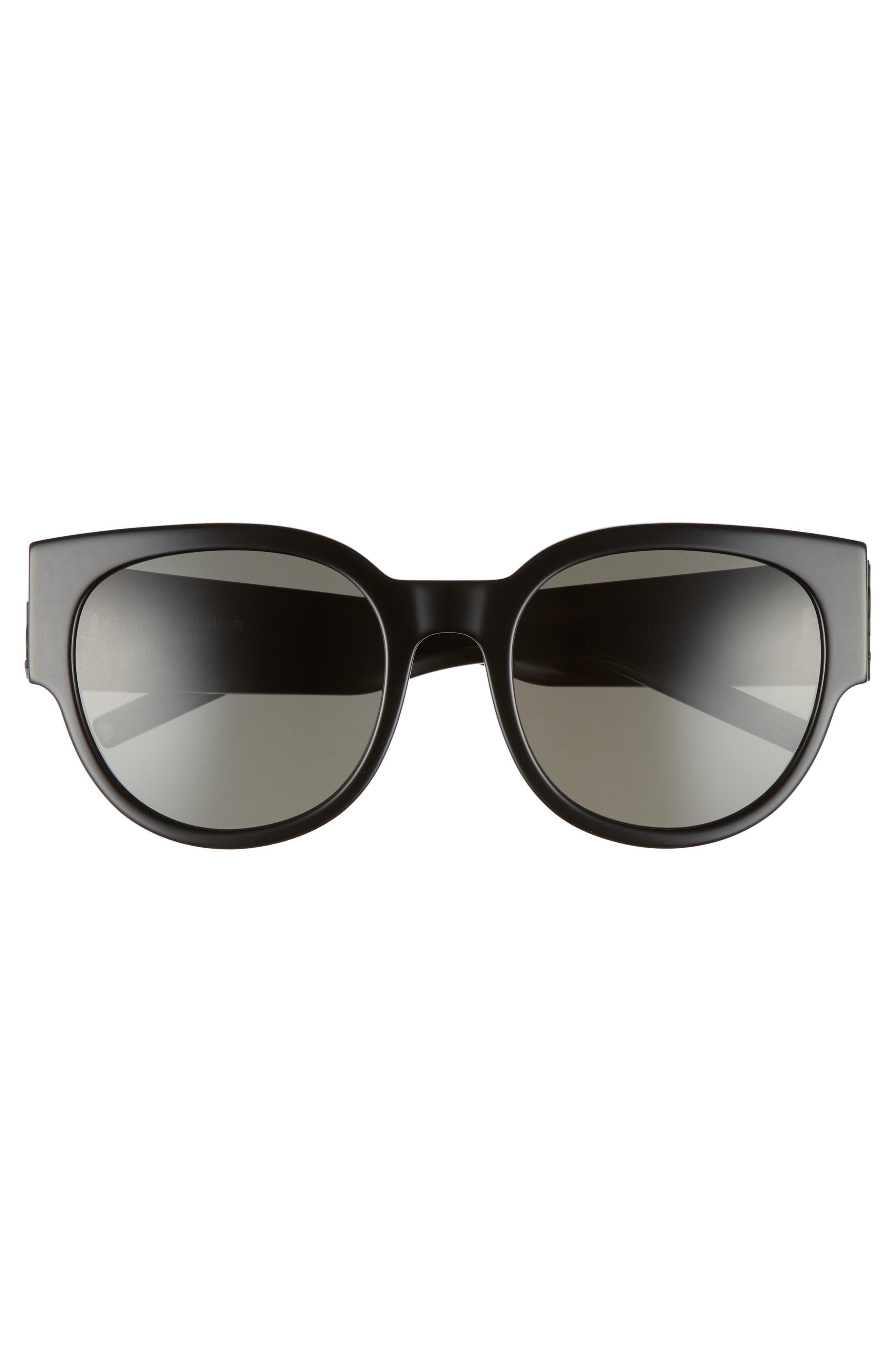 SL M19 54mm Cat Eye Sunglasses,                             Alternate thumbnail 3, color,                             BLACK