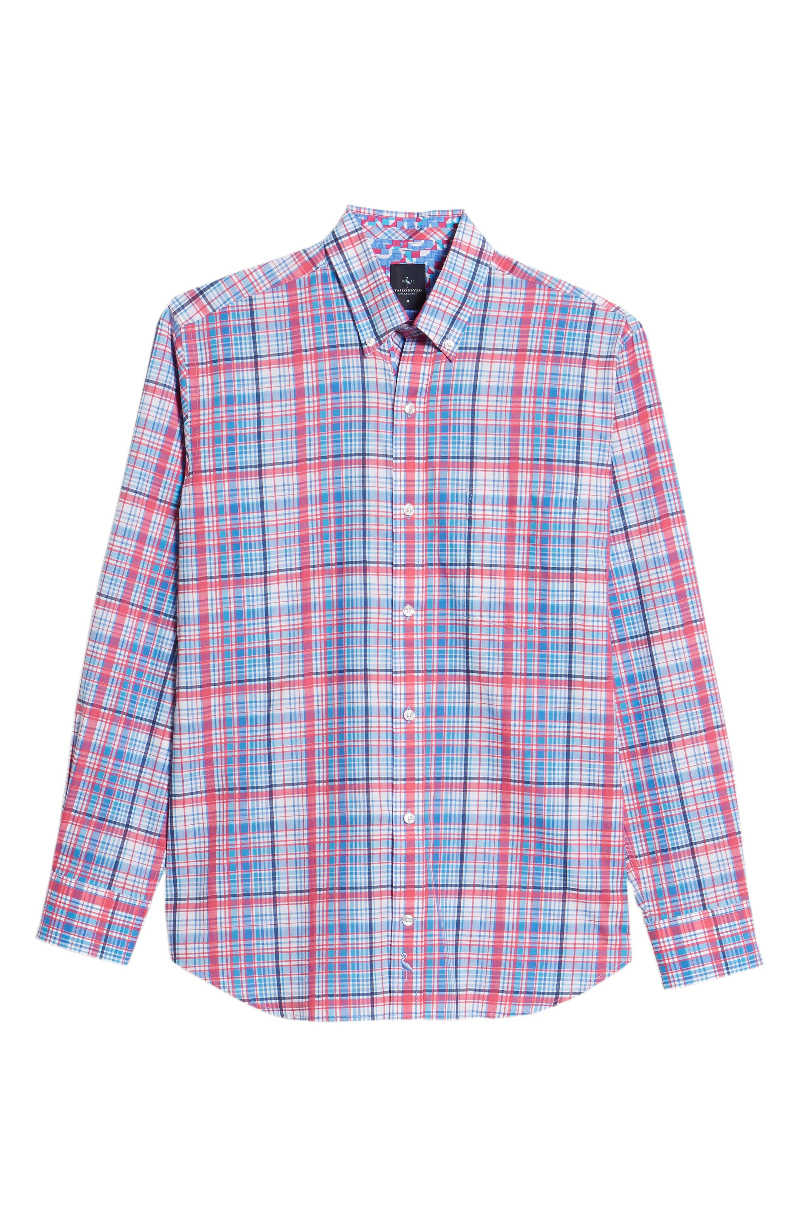Beacon Regular Fit Plaid Sport Shirt,                             Alternate thumbnail 6, color,                             650