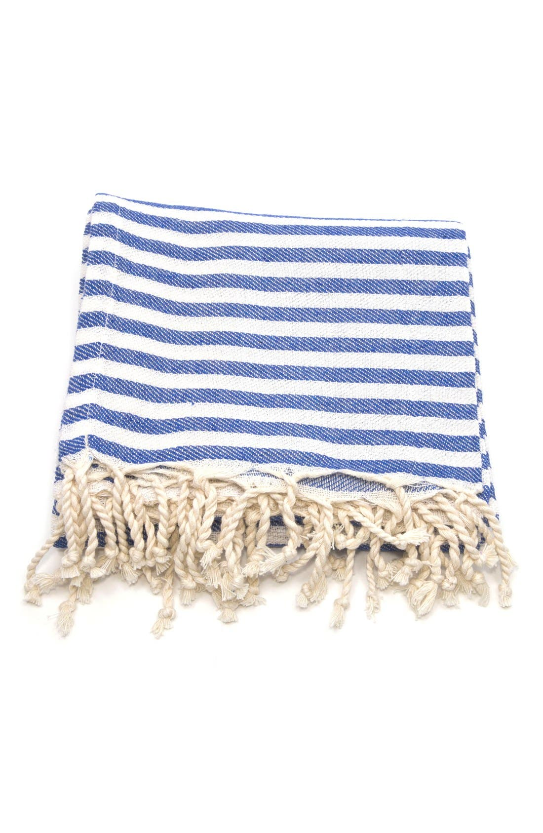 LINUM HOME TEXTILES,                             'Fun in the Sun' Turkish Pestemal Towel,                             Alternate thumbnail 2, color,                             OCEAN BLUE