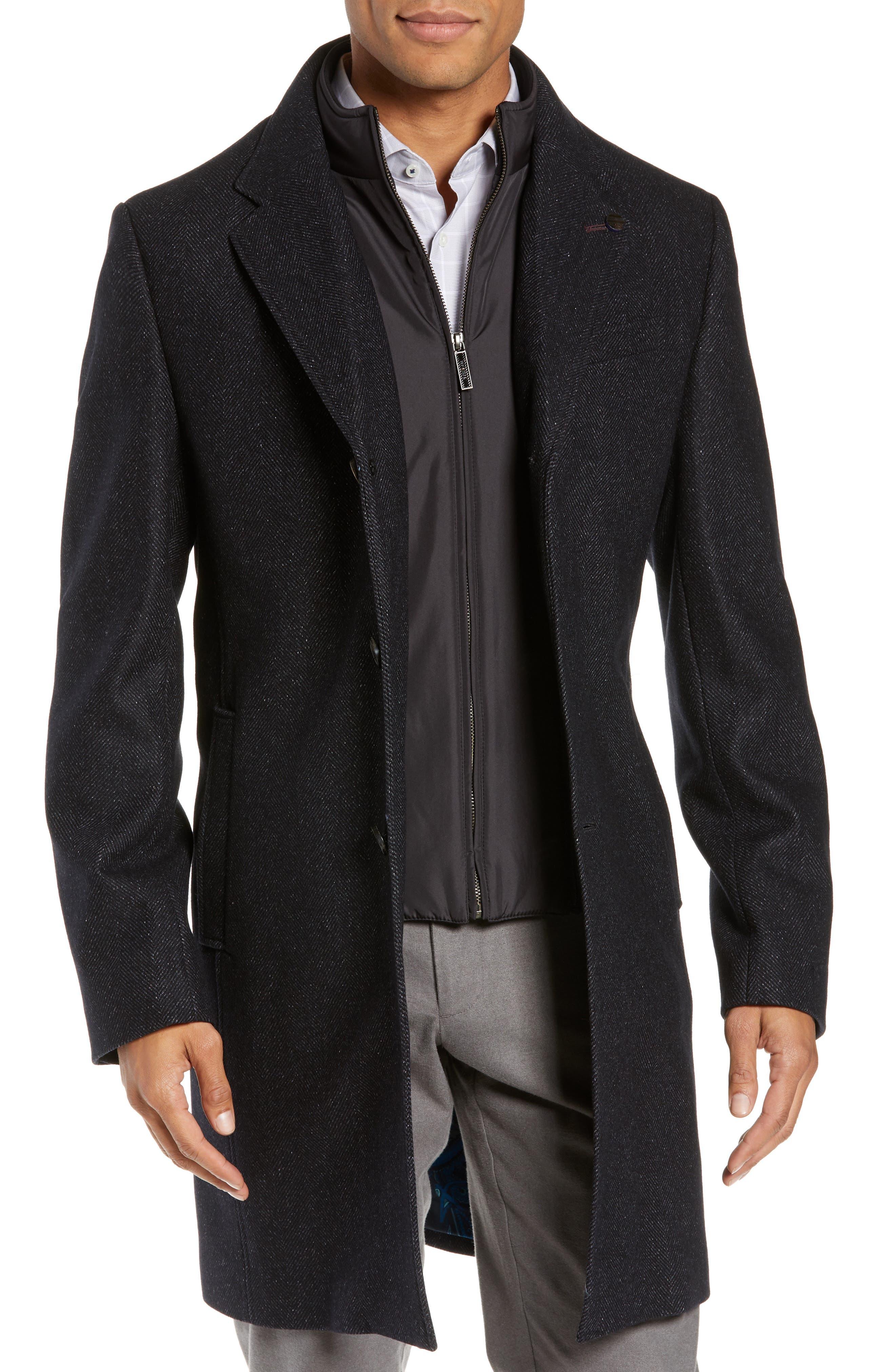 Herringbone Wool Blend Overcoat,                         Main,                         color, NAVY
