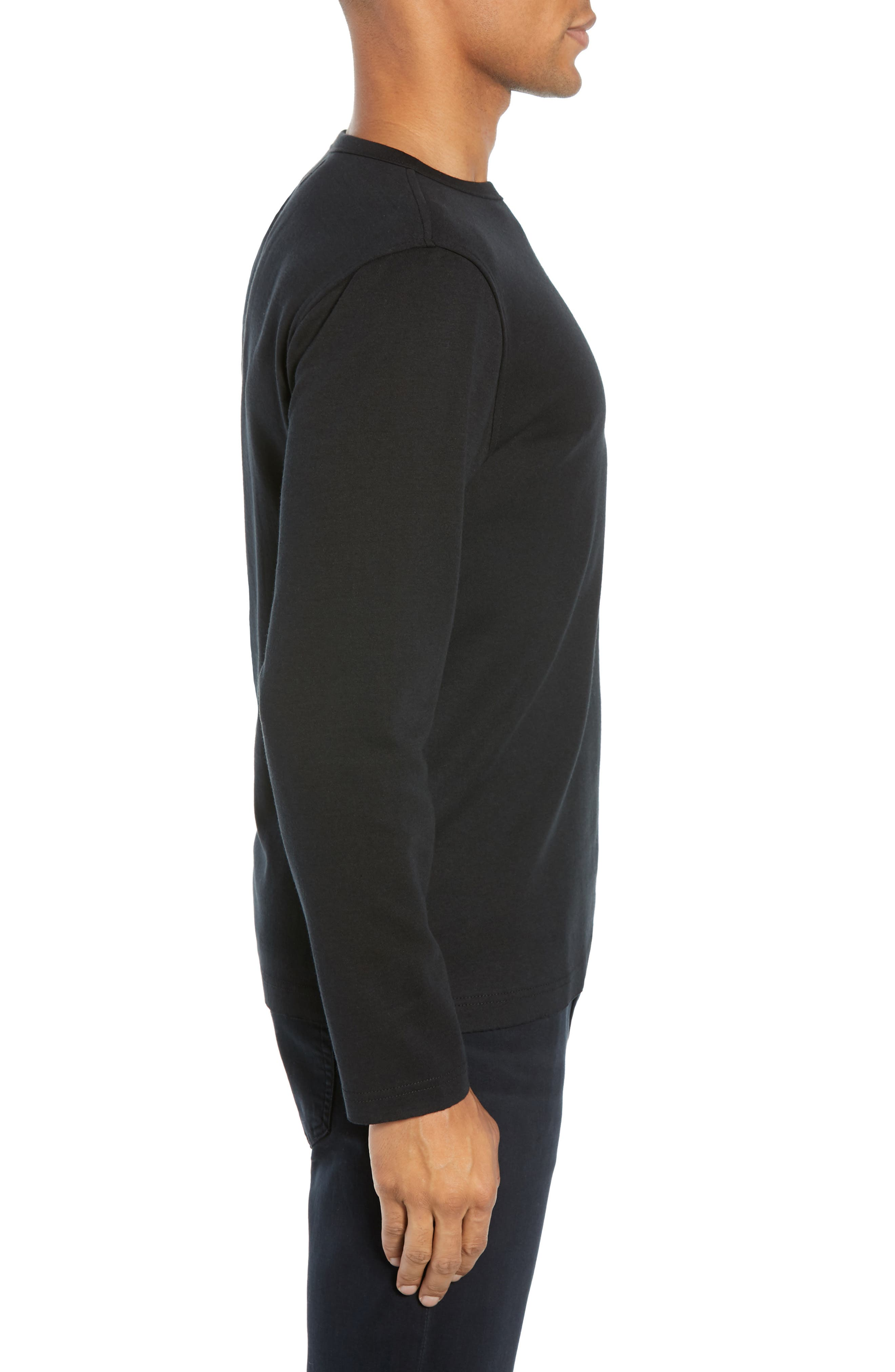 Trim Fit Long Sleeve Pocket T-Shirt,                             Alternate thumbnail 3, color,                             BLACK