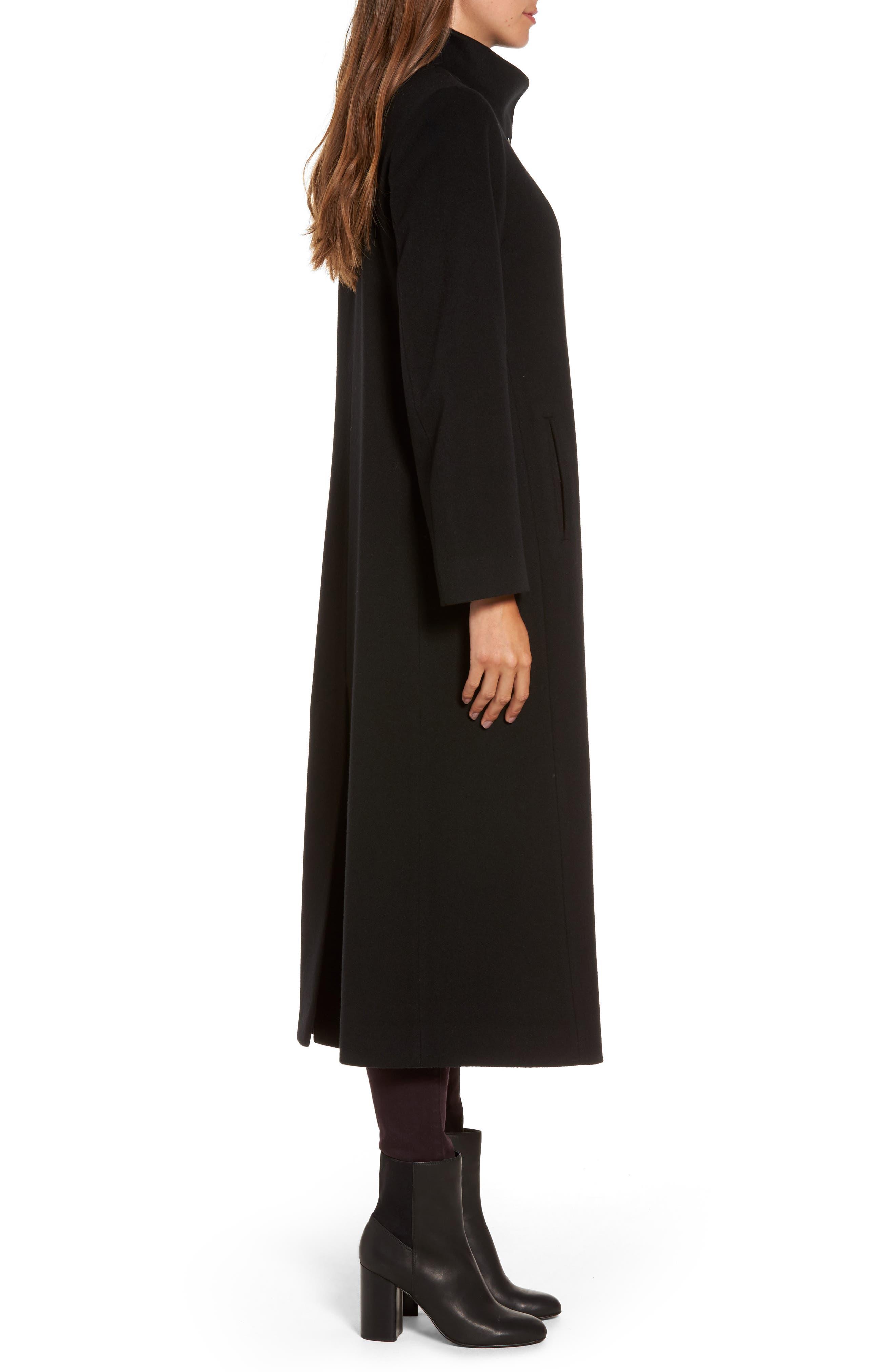 Cashmere Long Coat,                             Alternate thumbnail 3, color,                             001