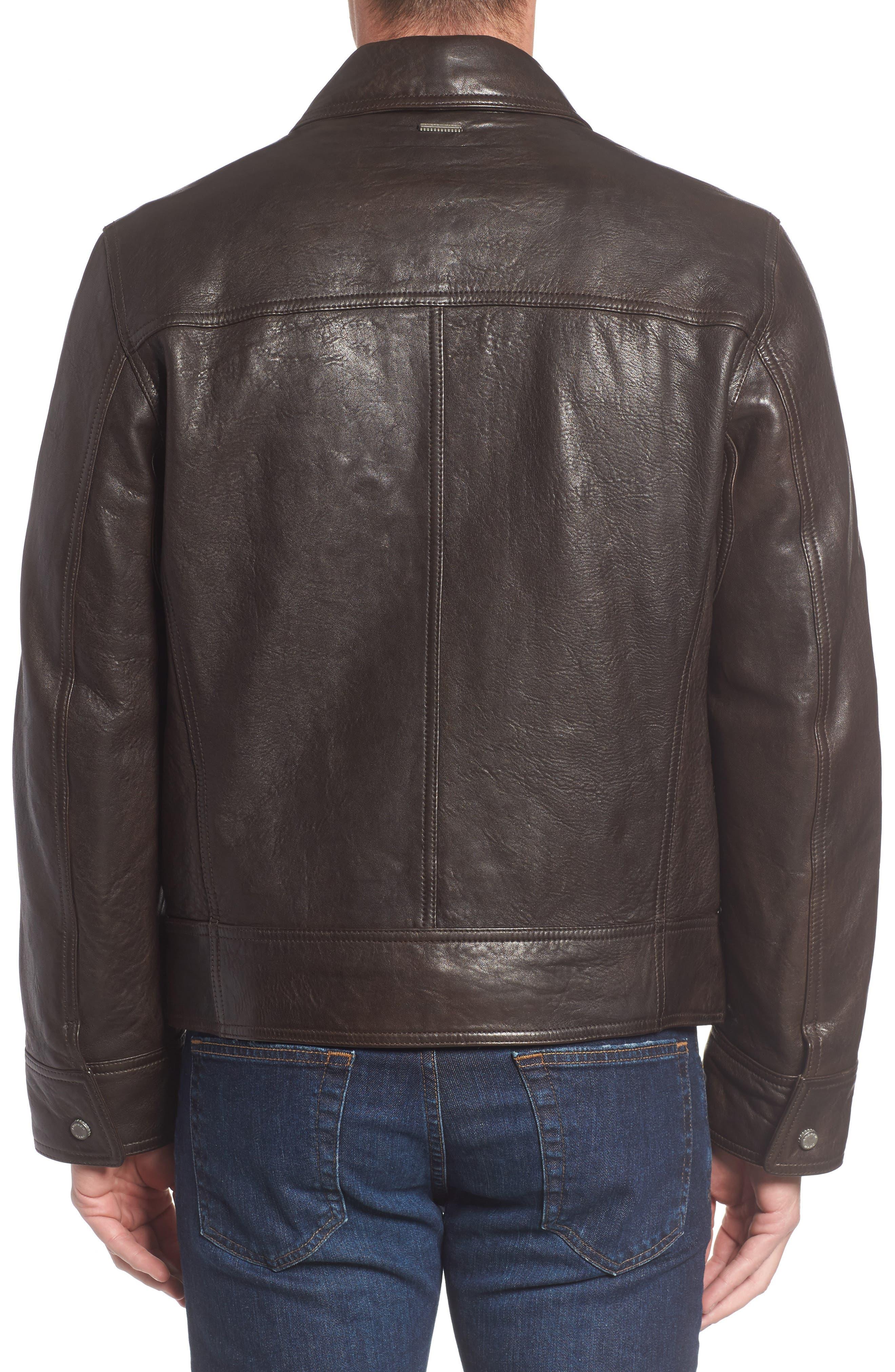 Morrison Spread Collar Leather Jacket,                             Alternate thumbnail 2, color,                             200
