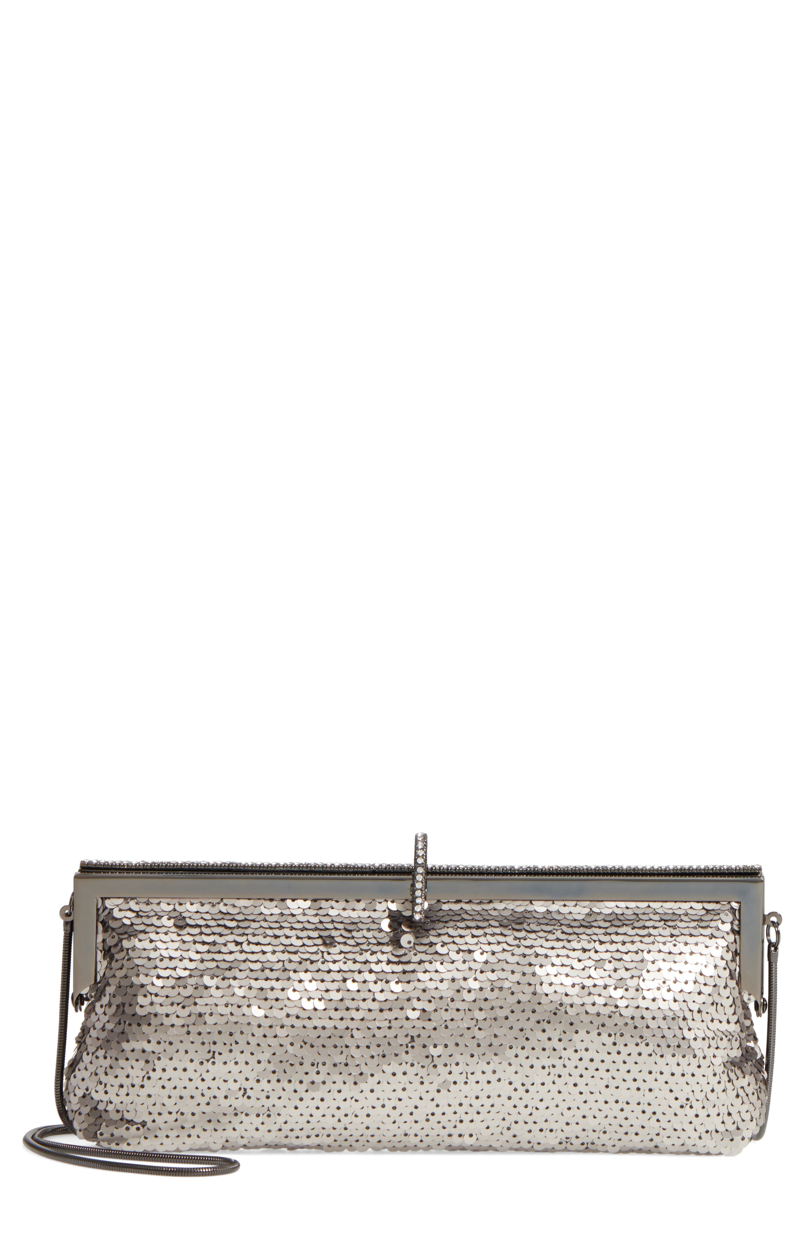 Badgley Mischka Dazzle Sequin Frame Clutch,                             Main thumbnail 1, color,                             040