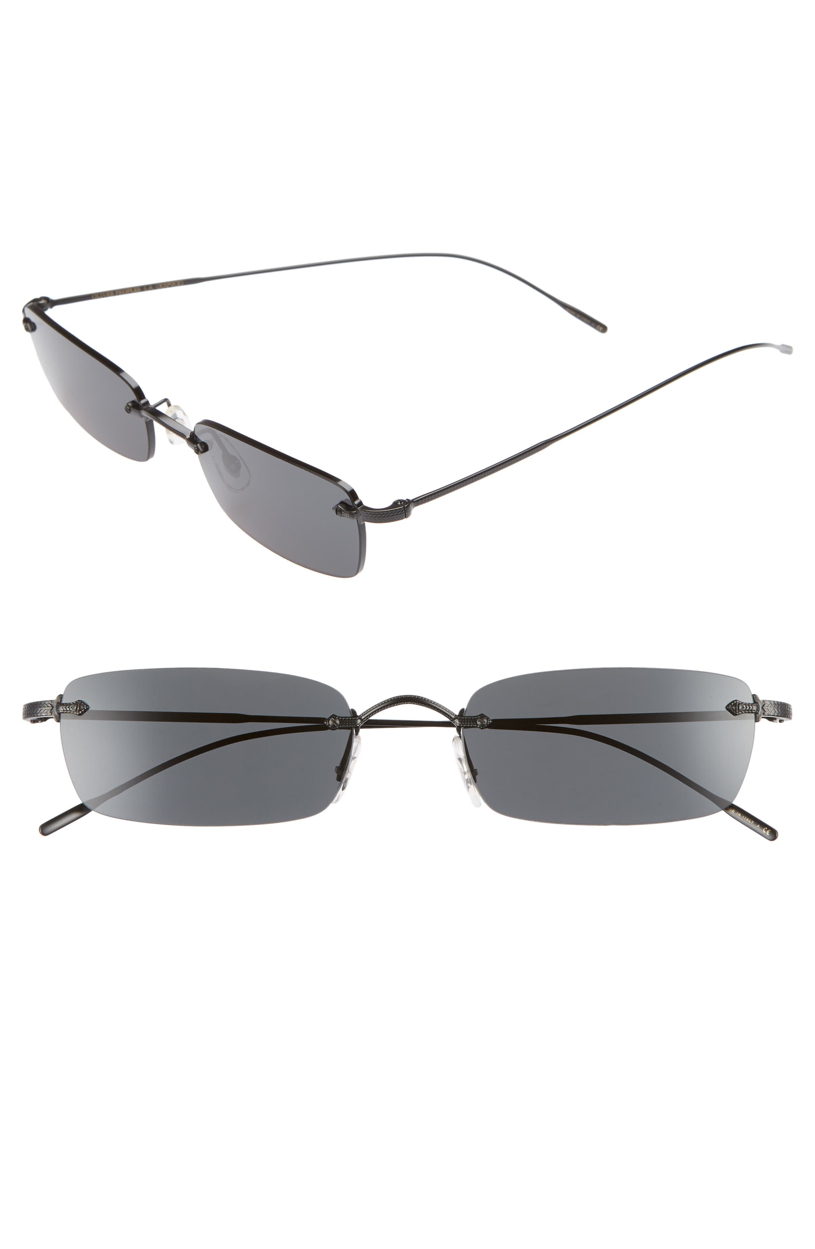 Oliver Peoples Daveigh 5m Rectangular Sunglasses - Matte Black