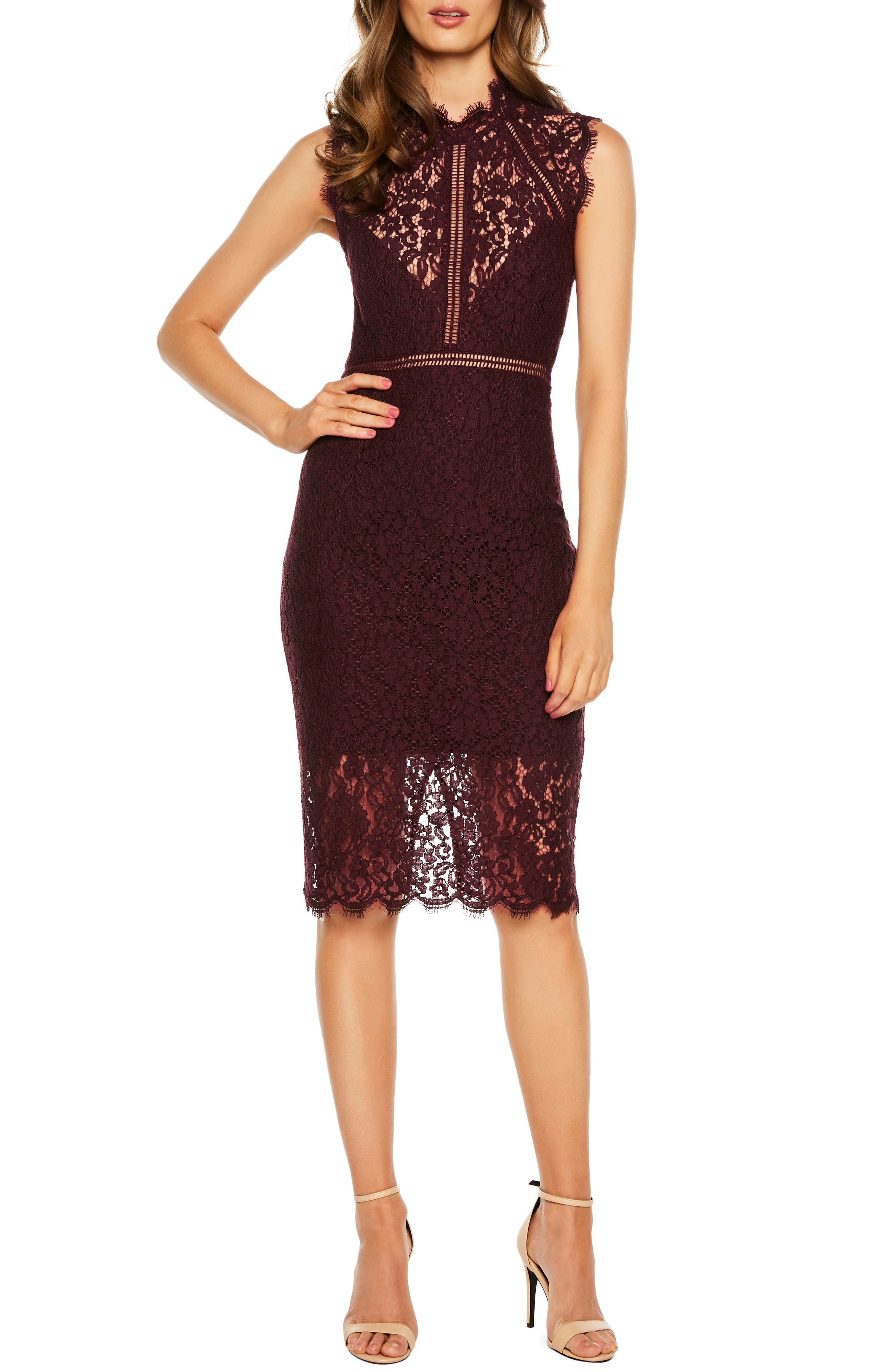 Bardot Lace Sheath Dress, Red