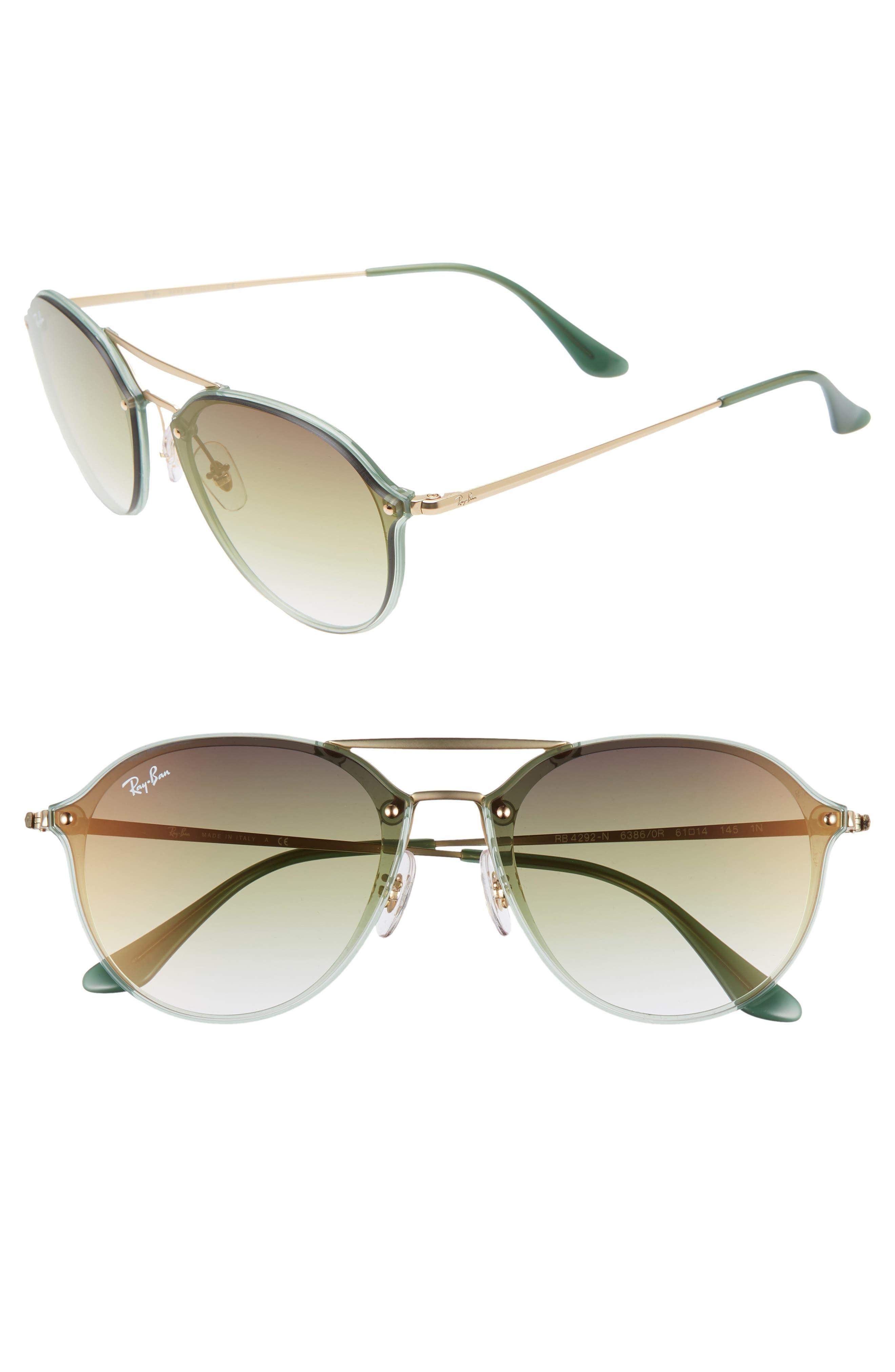 61mm Gradient Aviator Sunglasses,                             Main thumbnail 1, color,                             GREEN/ GOLD GRADIENT