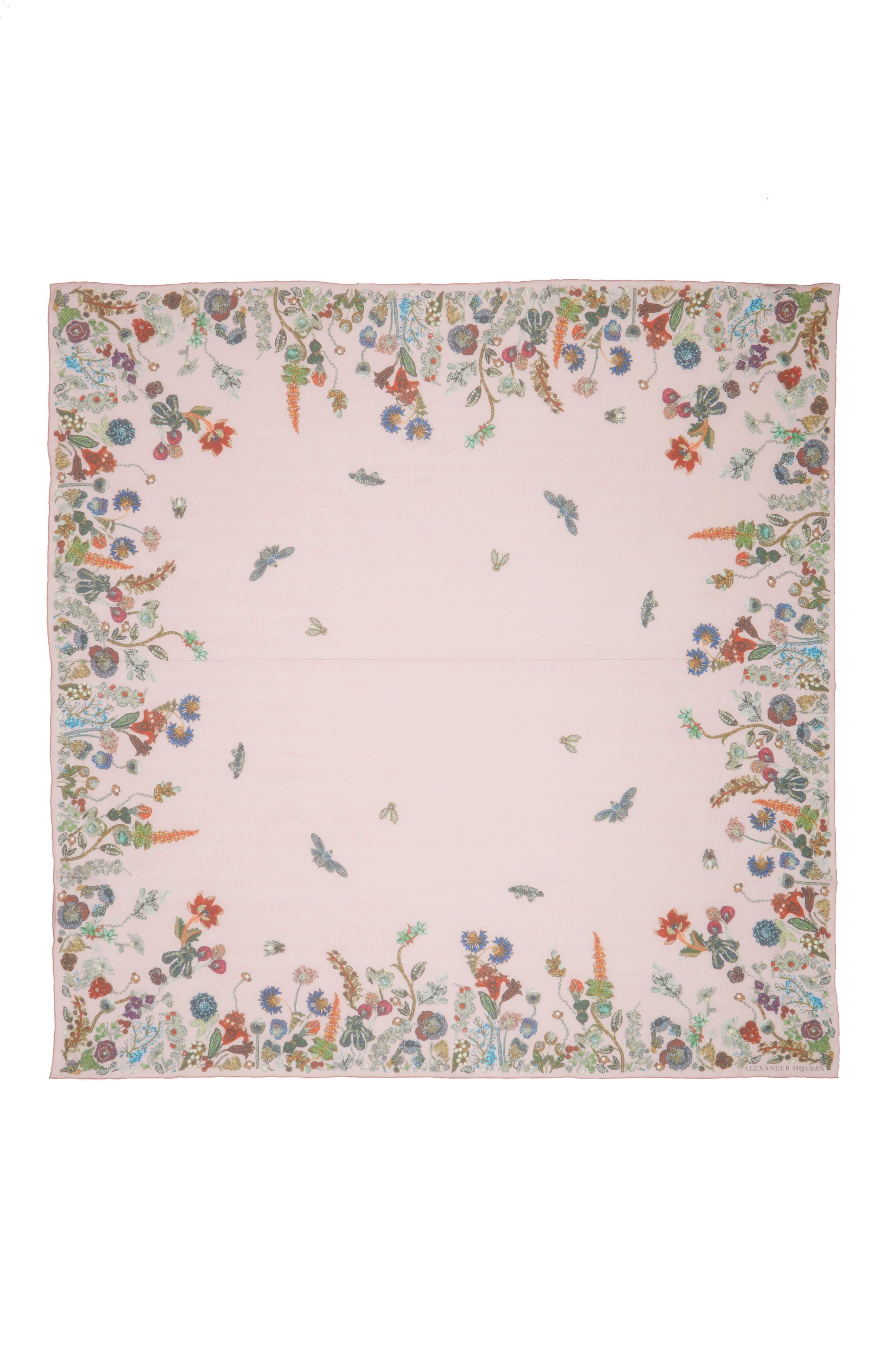 Jeweled Garden Silk Chiffon Scarf,                             Main thumbnail 2, color,