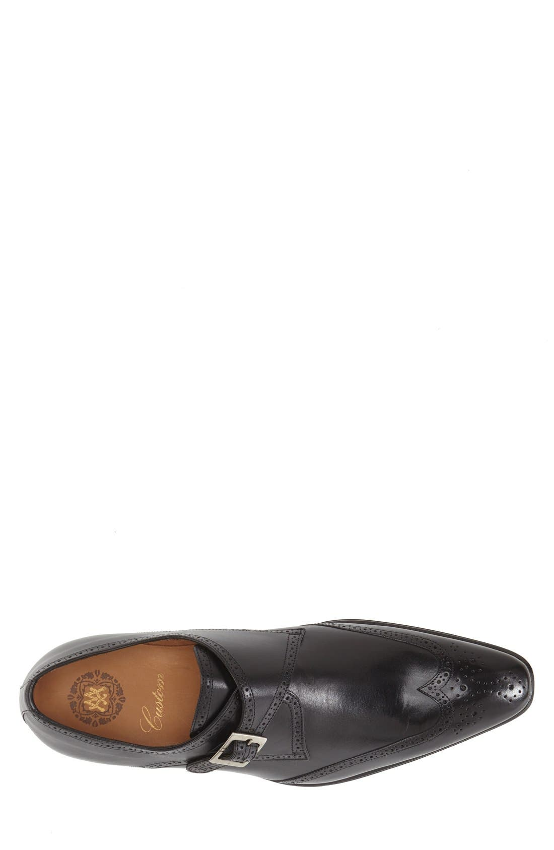 'Vitoria' Monk Strap Oxford,                             Alternate thumbnail 3, color,                             BLACK LEATHER