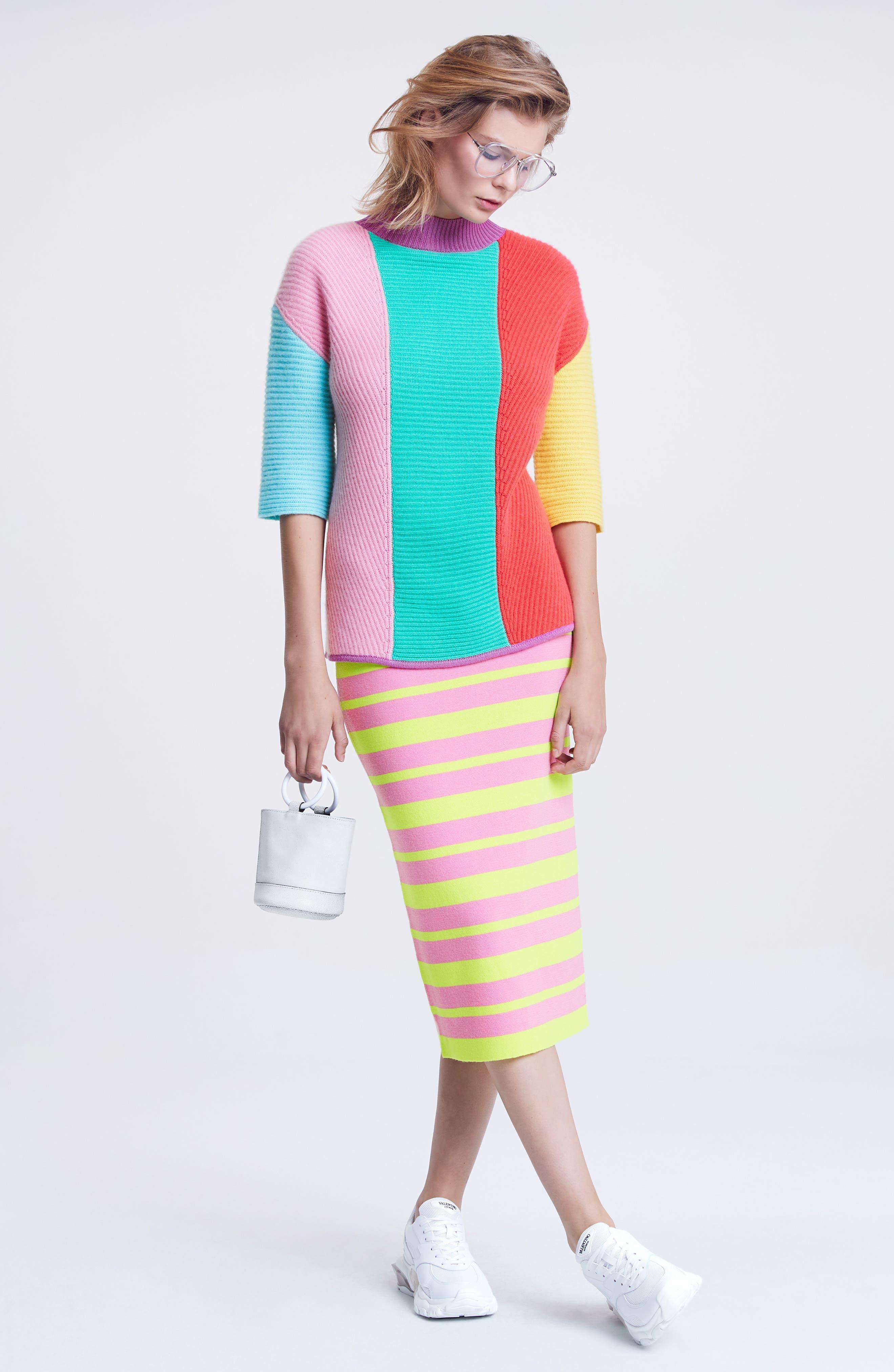 Stripe Short Sleeve Cashmere Sweater,                             Alternate thumbnail 7, color,                             MULTI